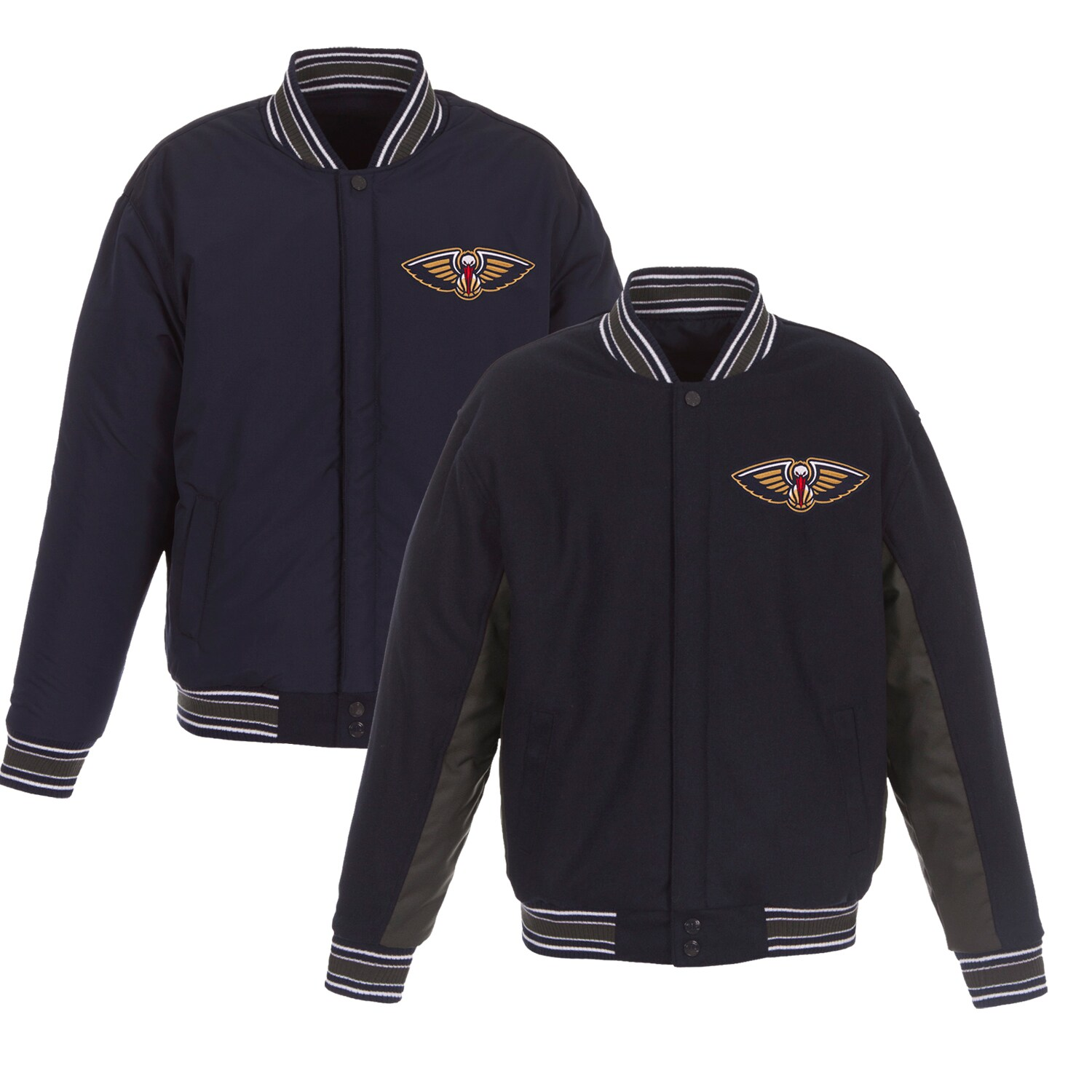 New Orleans Pelicans JH Design Reversible Wool & Poly-Twill Full-Snap Jacket - Navy/Charcoal