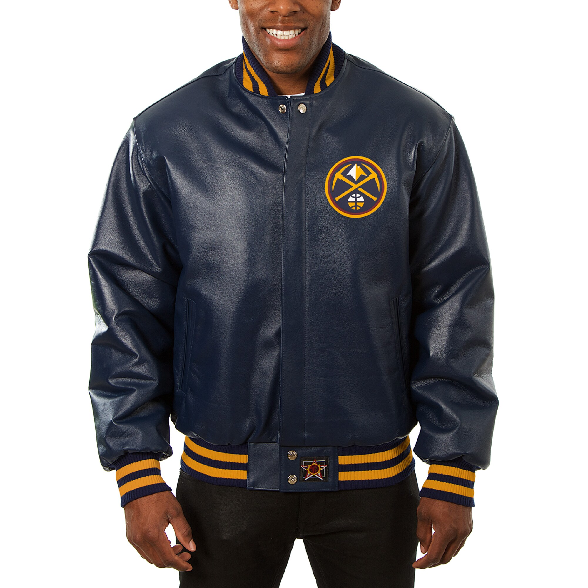 Denver Nuggets JH Design Big & Tall All-Leather Logo Full-Snap Jacket - Navy