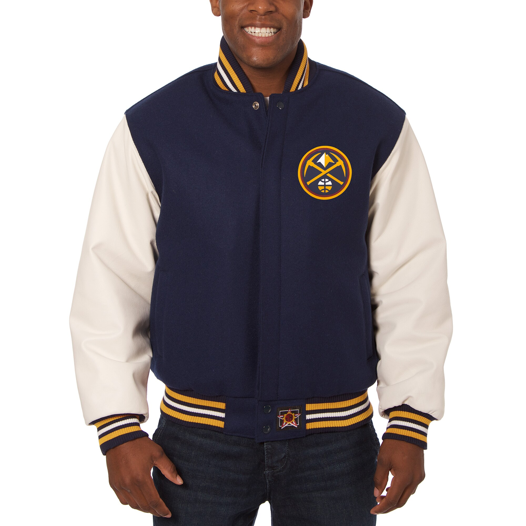 Denver Nuggets JH Design Big & Tall Wool & Leather Full-Snap Jacket - Navy/White