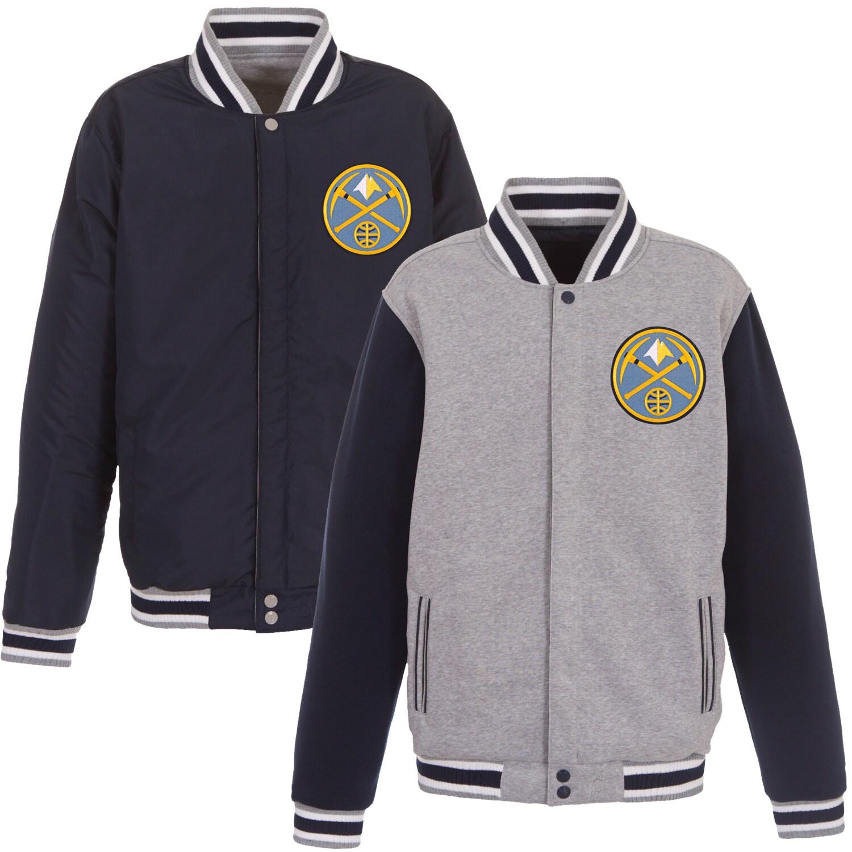Denver Nuggets JH Design Embroidered Logo Reversible Fleece Full-Snap Jacket - Gray/Navy