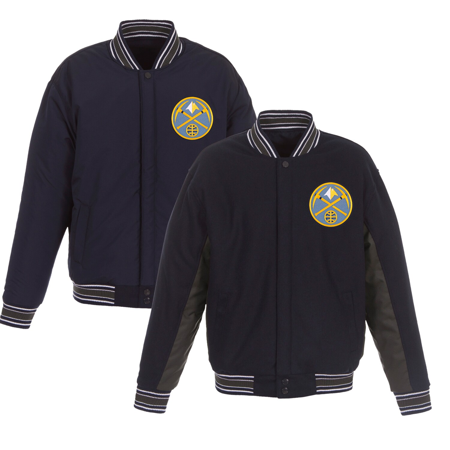 Denver Nuggets JH Design Reversible Wool & Poly-Twill Full-Snap Jacket - Navy/Charcoal