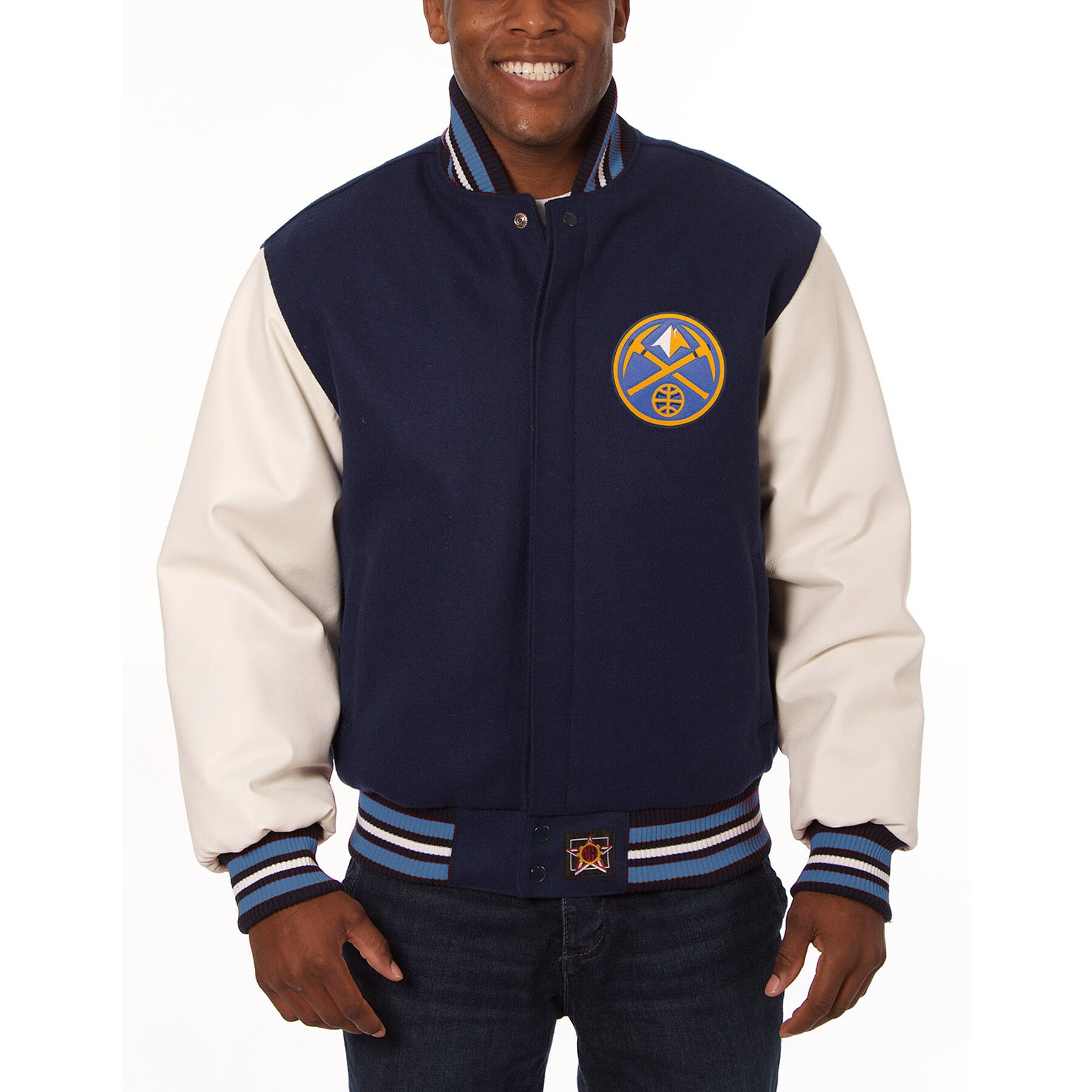 Denver Nuggets JH Design Domestic Two-Tone Wool and Leather Jacket - Navy