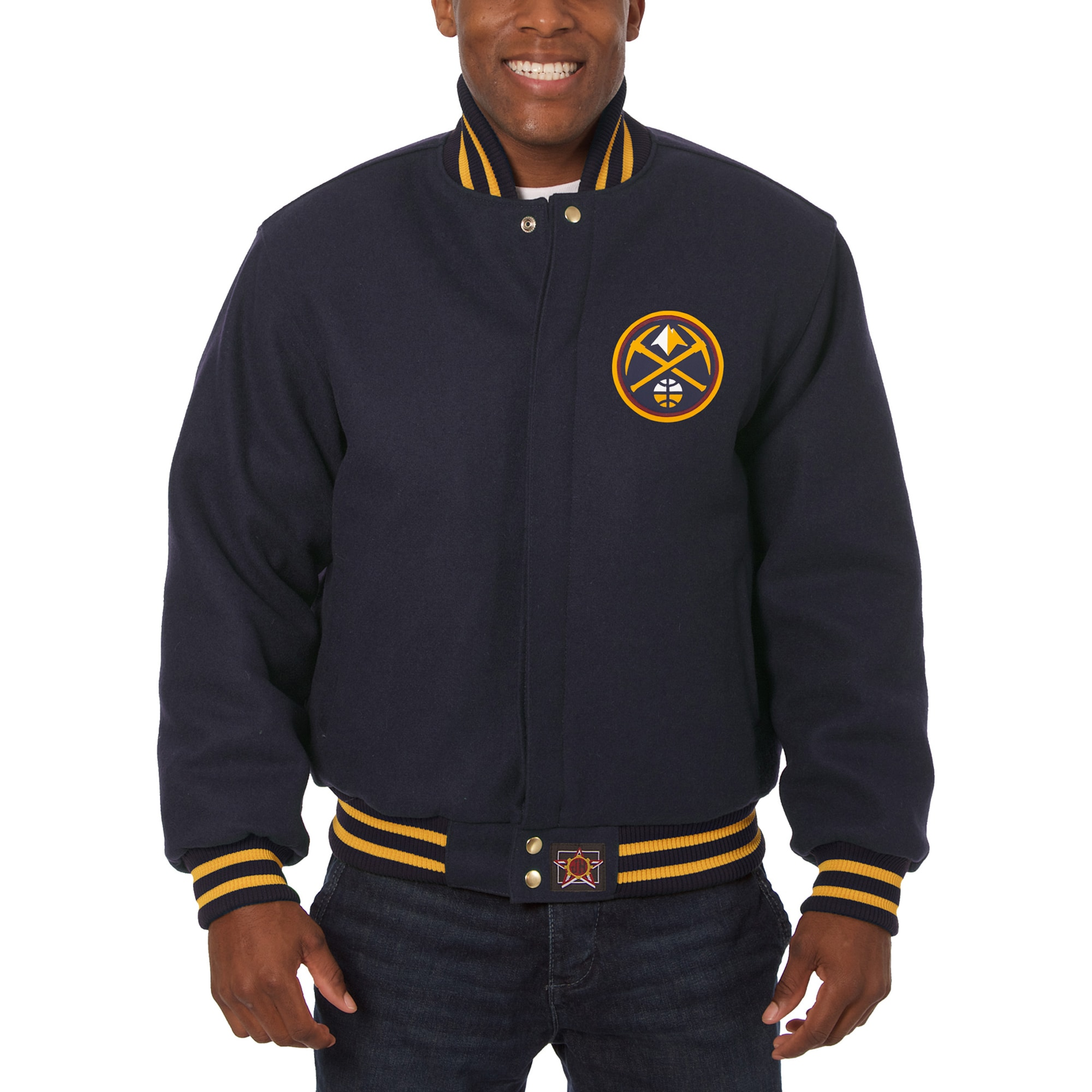 Denver Nuggets JH Design Big & Tall All Wool Jacket with Leather Logo - Navy