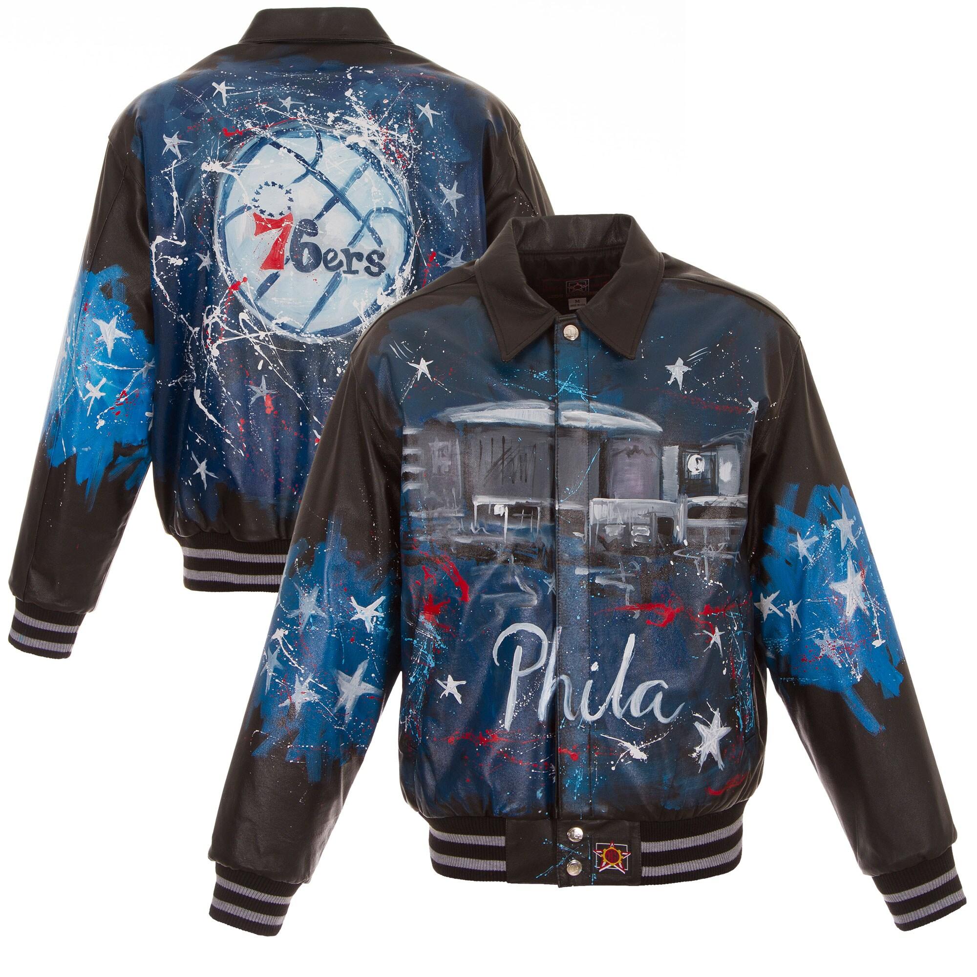 Philadelphia 76ers JH Design Hand-Painted Leather Jacket - Black