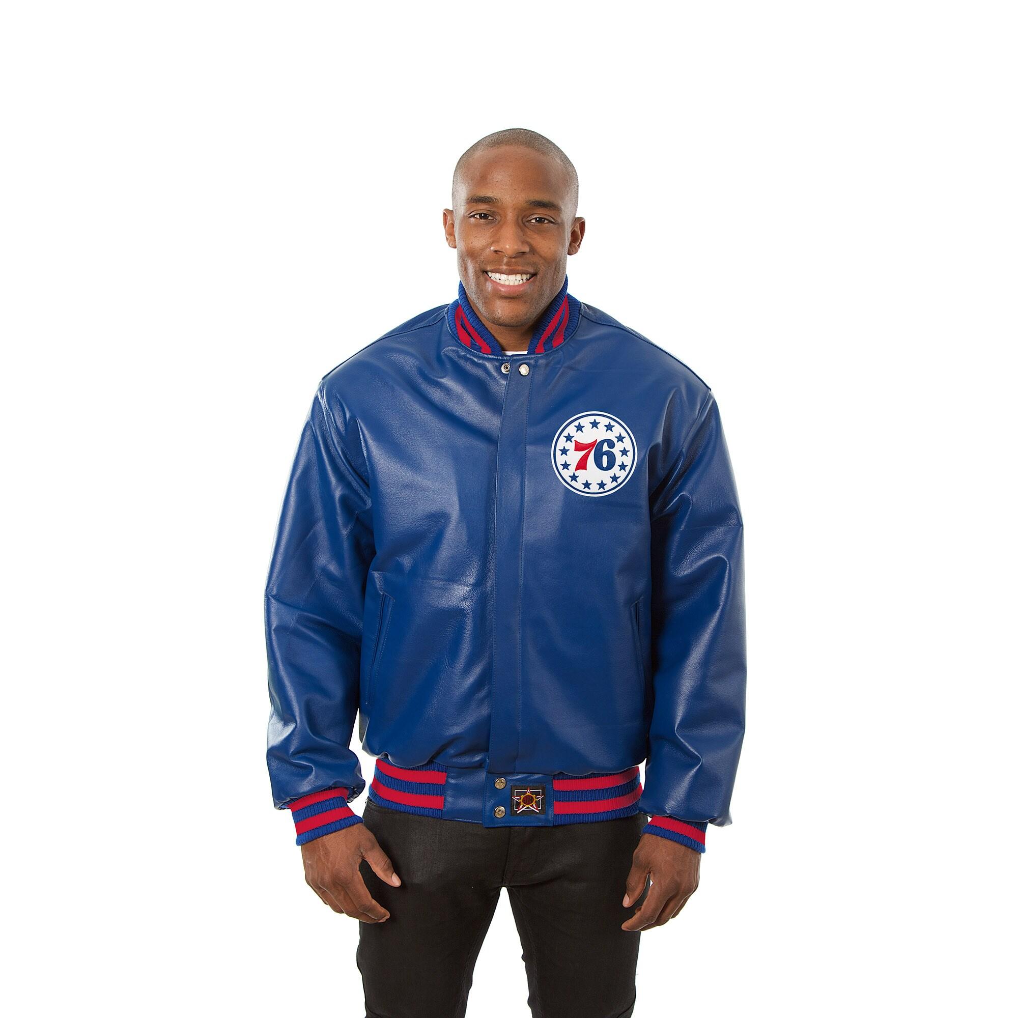 Philadelphia 76ers JH Design Domestic Team Color Leather Jacket - Royal