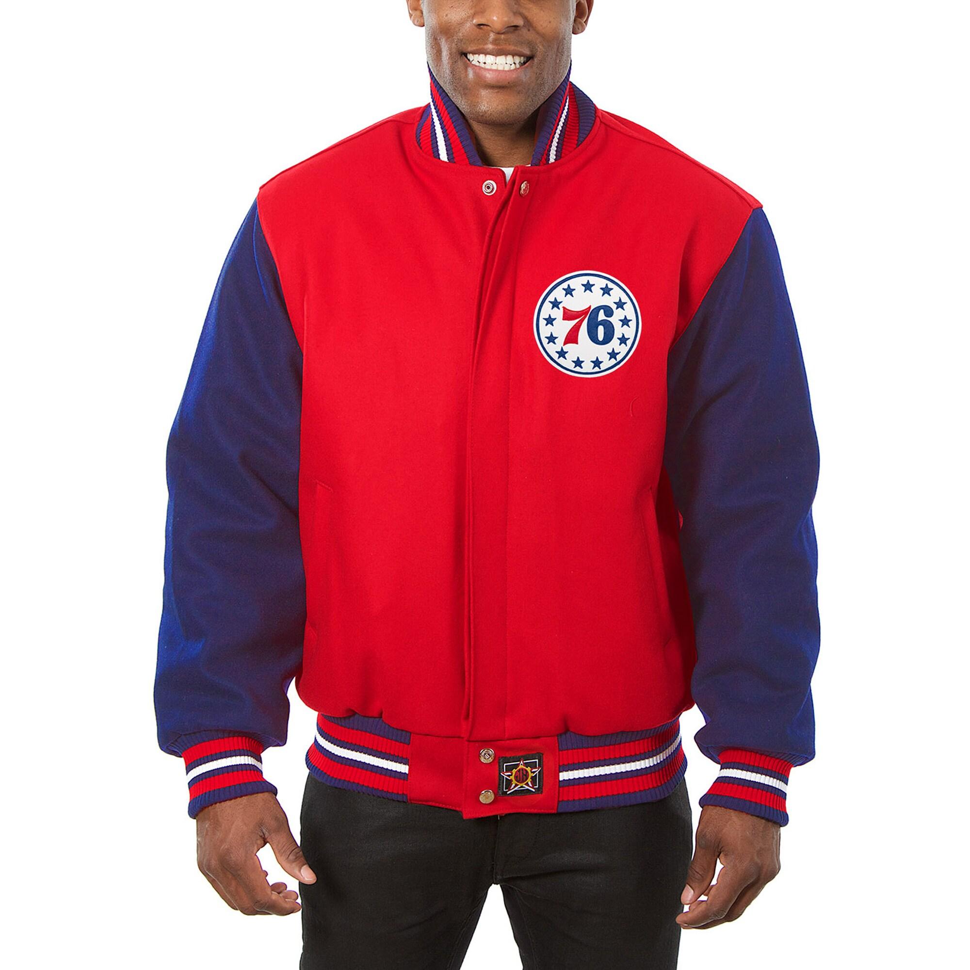 Philadelphia 76ers JH Design Domestic Two-Tone Wool Jacket - Red