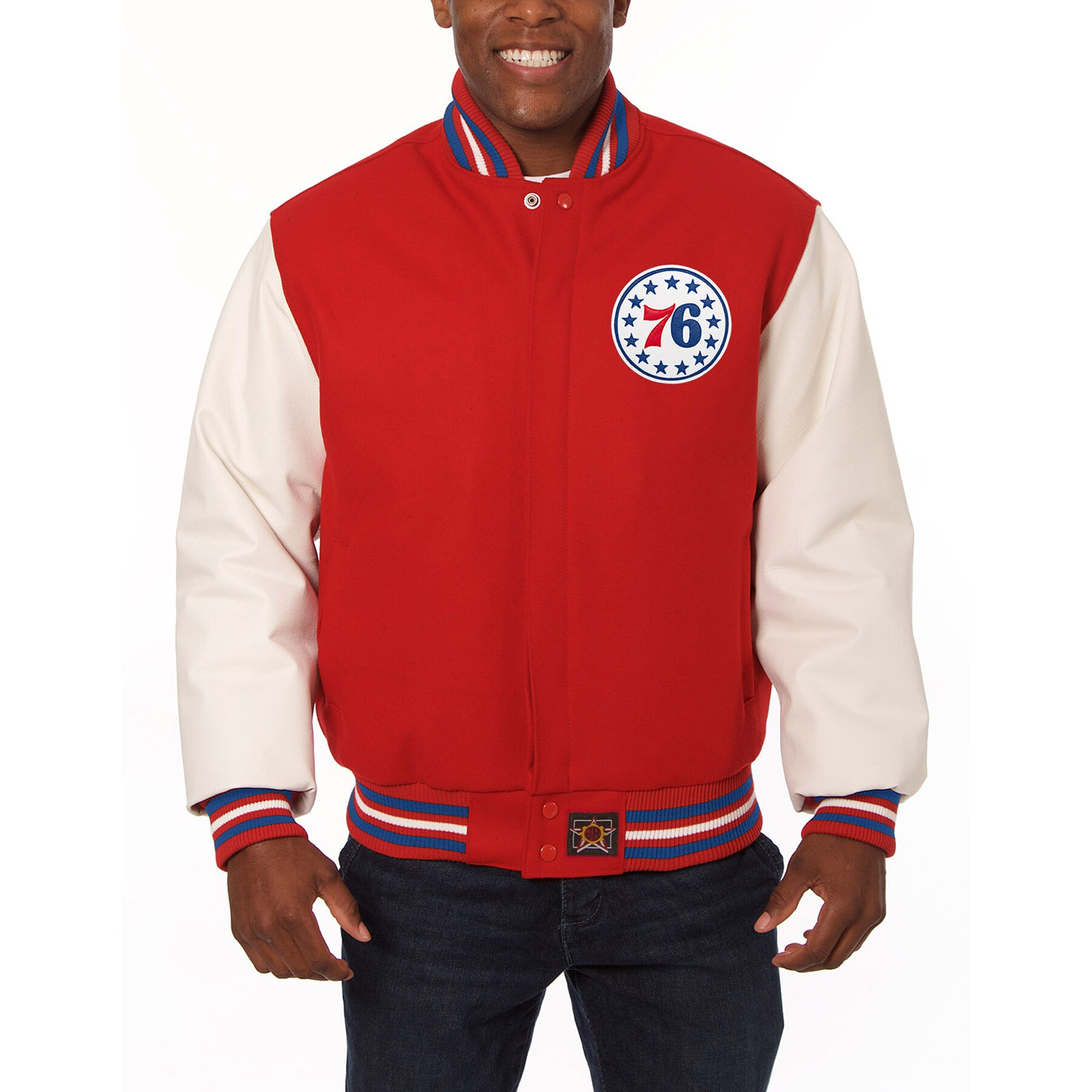 Philadelphia 76ers JH Design Domestic Two-Tone Wool and Leather Jacket - Red