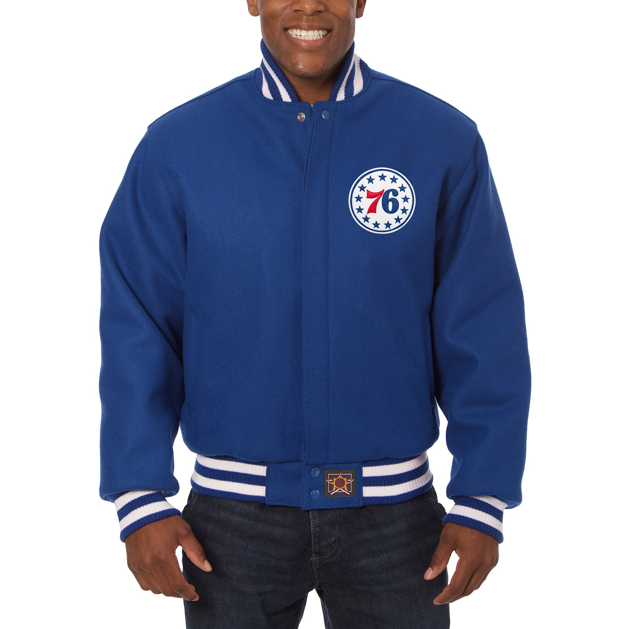 Philadelphia 76ers JH Design Big & Tall All Wool Jacket with Leather Logo - Royal