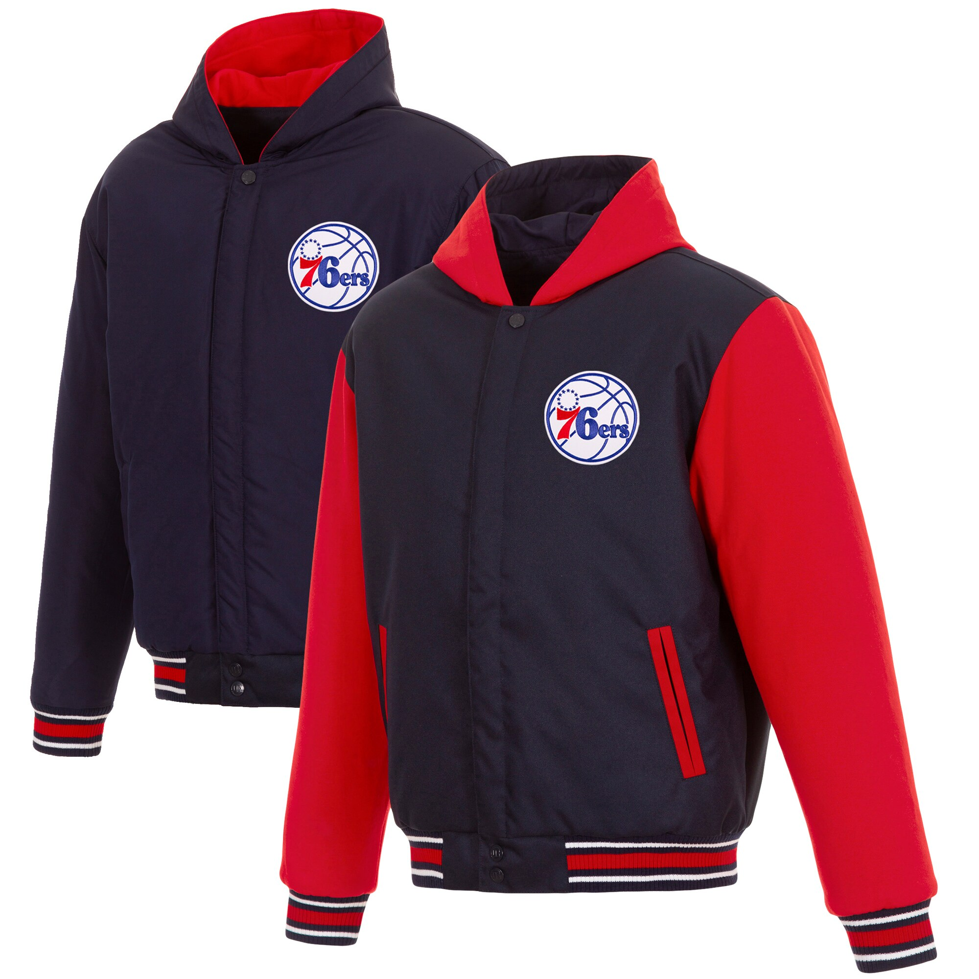 Philadelphia 76ers JH Design Reversible Poly-Twill Hooded Jacket with Fleece Sleeves - Navy/Red