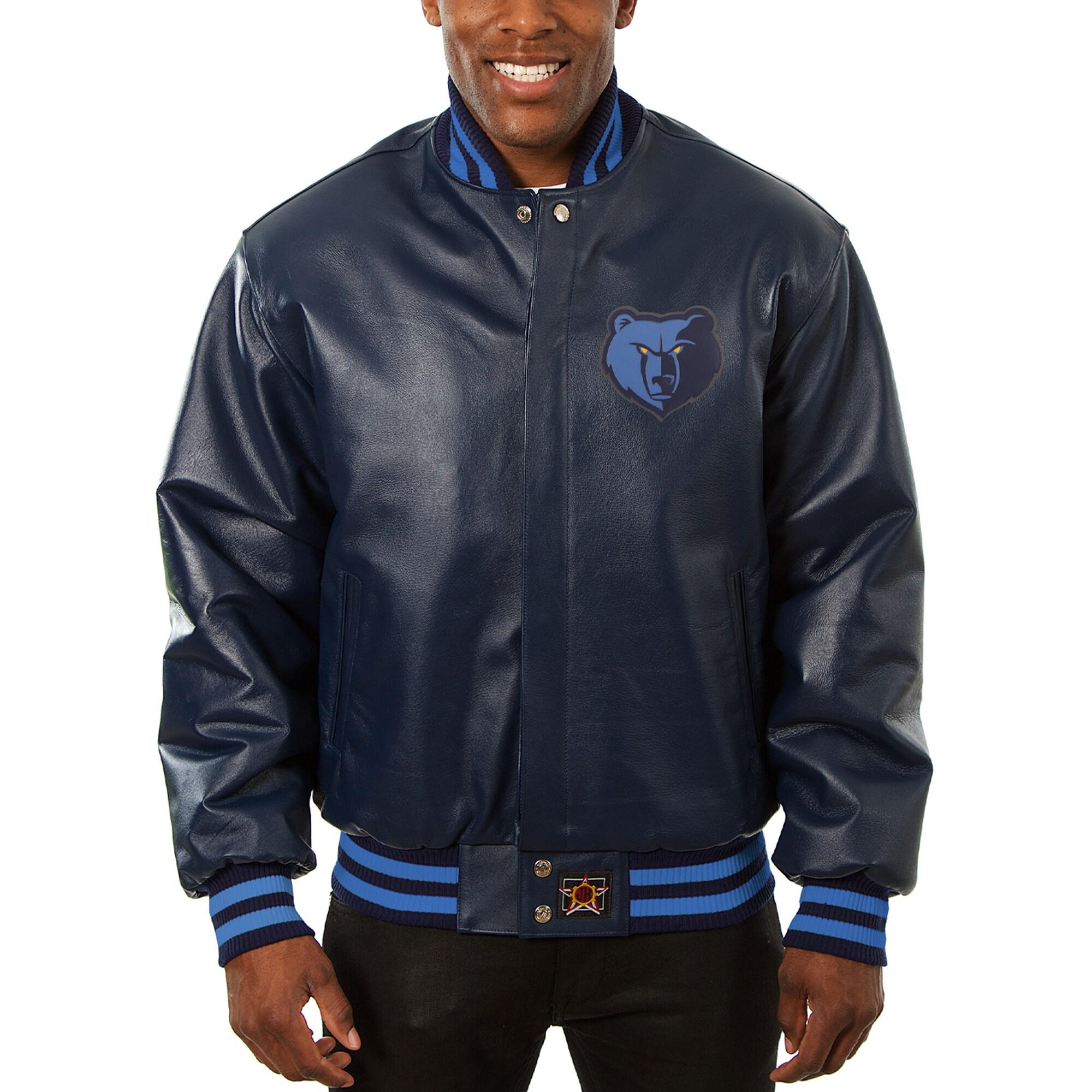 Memphis Grizzlies JH Design Big & Tall All-Leather Logo Full-Snap Jacket - Navy