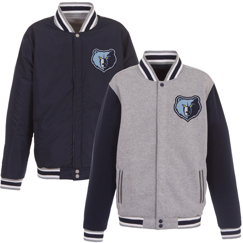 Memphis Grizzlies JH Design Embroidered Logo Reversible Fleece Full-Snap Jacket - Gray/Navy
