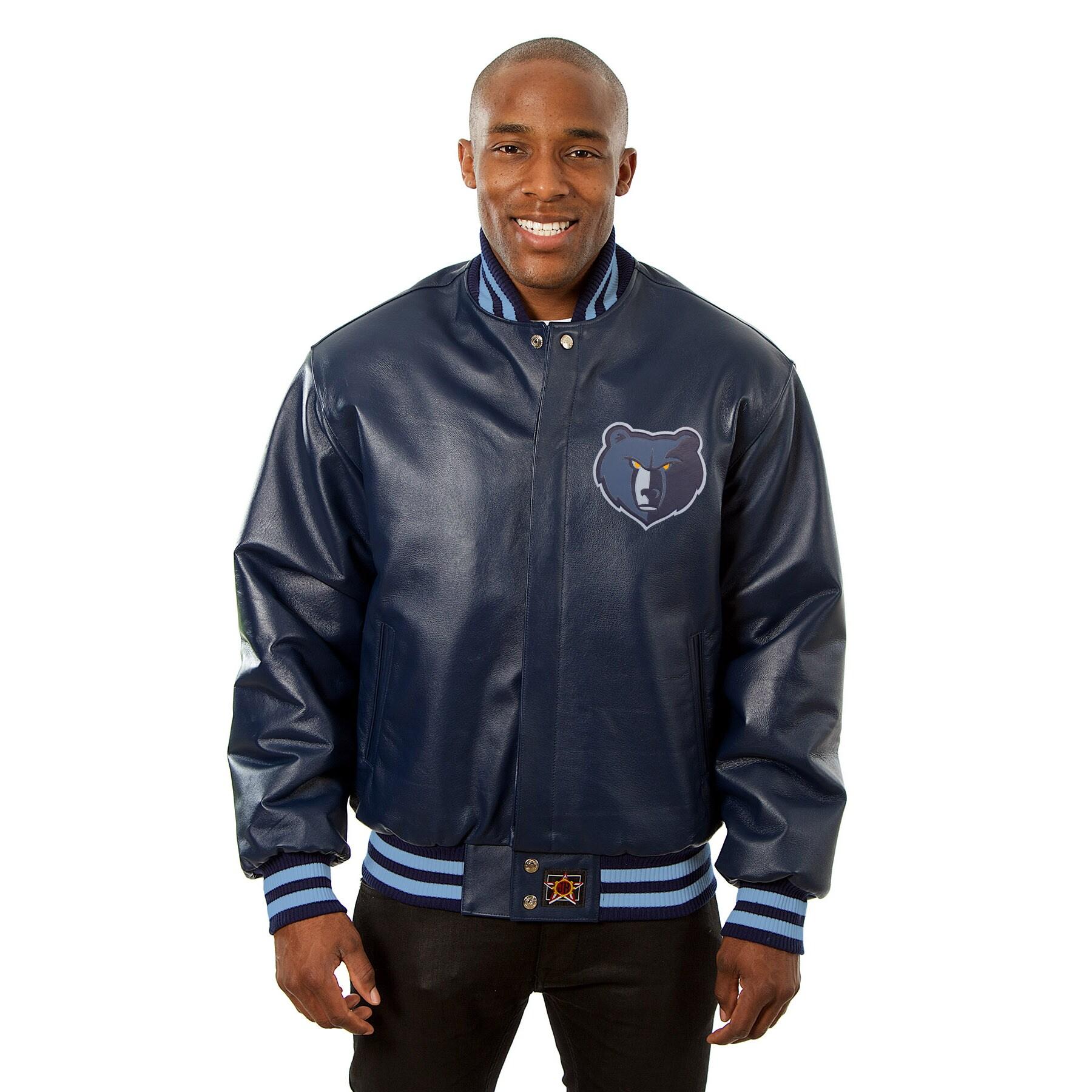 Memphis Grizzlies JH Design Domestic Team Color Leather Jacket - Navy