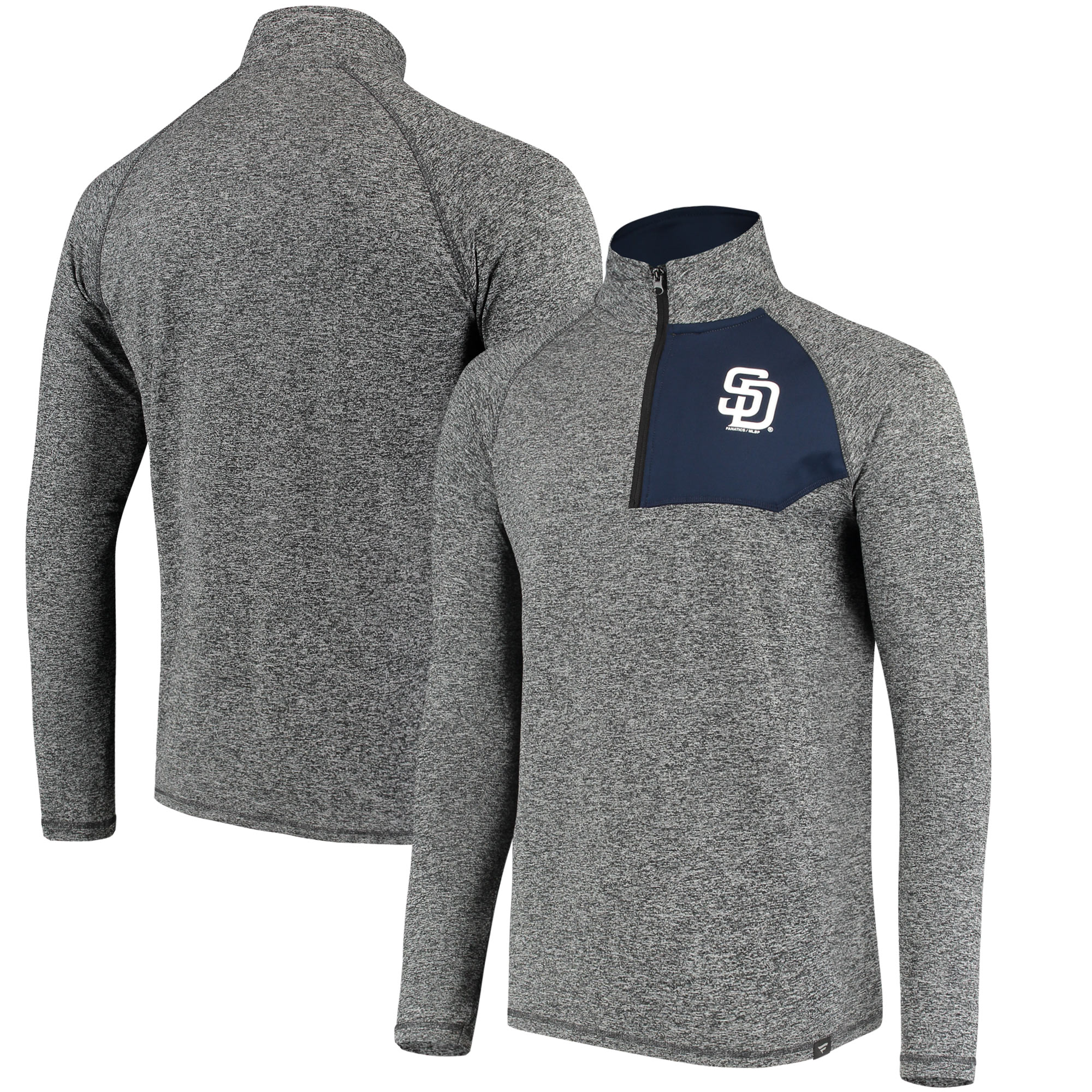 San Diego Padres Fanatics Branded Static Quarter-Zip Pullover Jacket - Heathered Gray