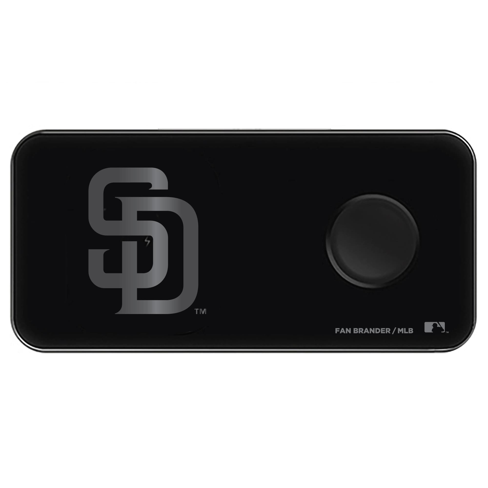 San Diego Padres 3-in-1 Glass Wireless Charge Pad - Black