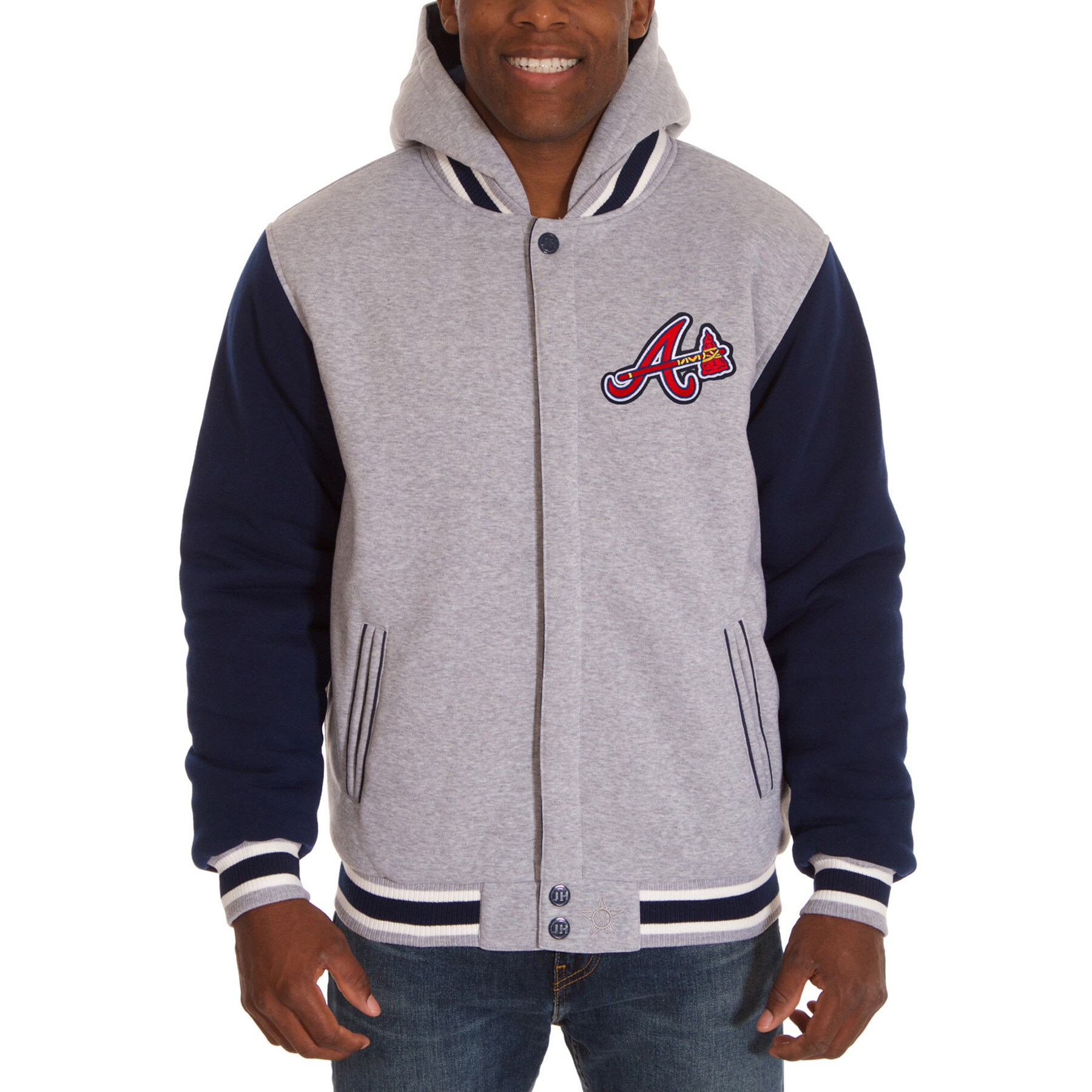 Atlanta Braves JH Design Reversible Fleece Full Snap Hoodie - Gray