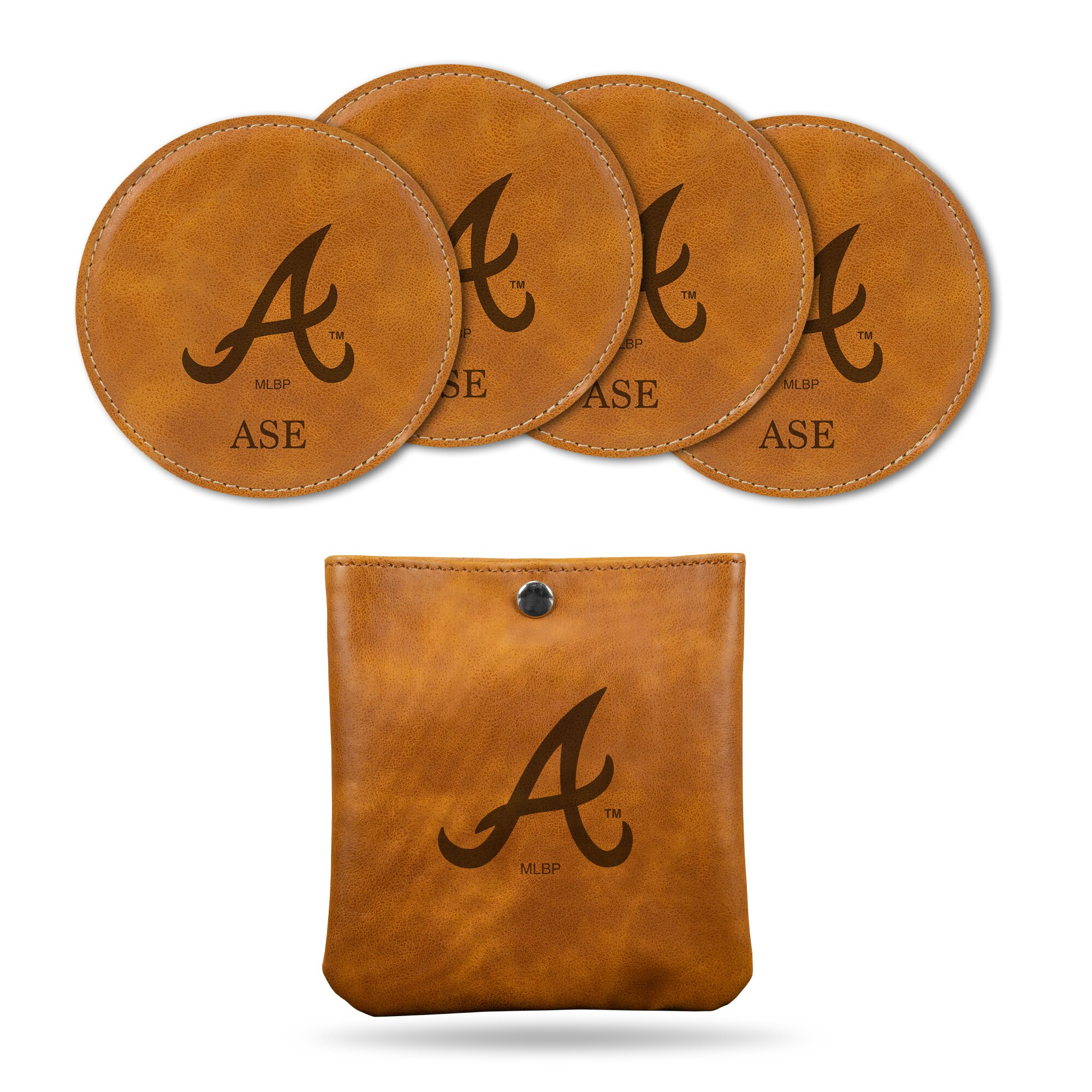 Atlanta Braves Sparo 4-Pack Personalized Coaster Set - Brown
