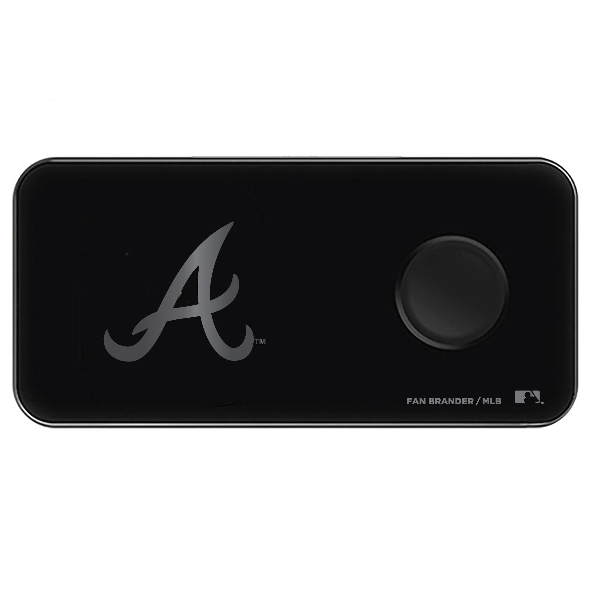 Atlanta Braves 3-in-1 Glass Wireless Charge Pad - Black