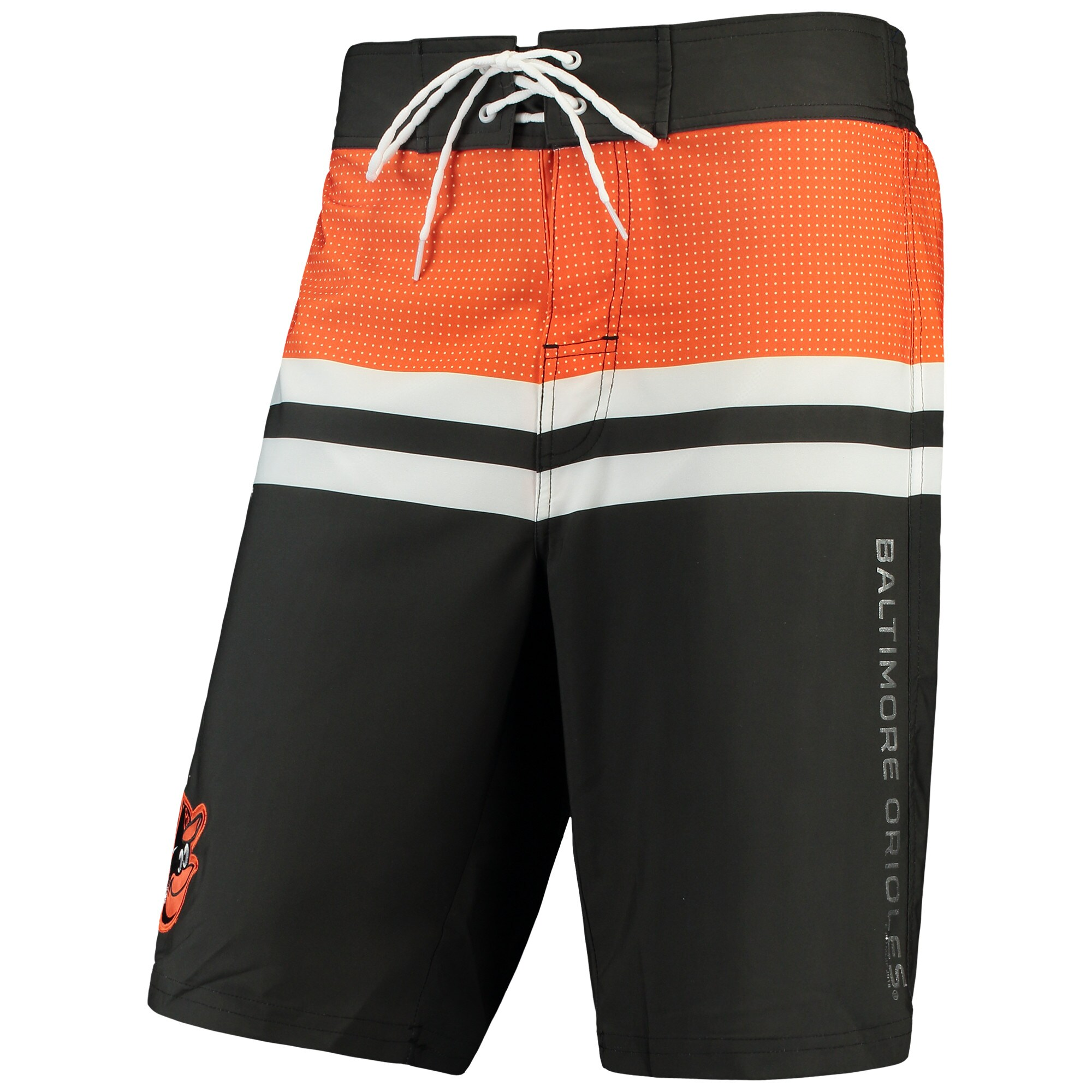 Baltimore Orioles G-III Sports by Carl Banks MLB Interception Swim Trunks - Black/Orange