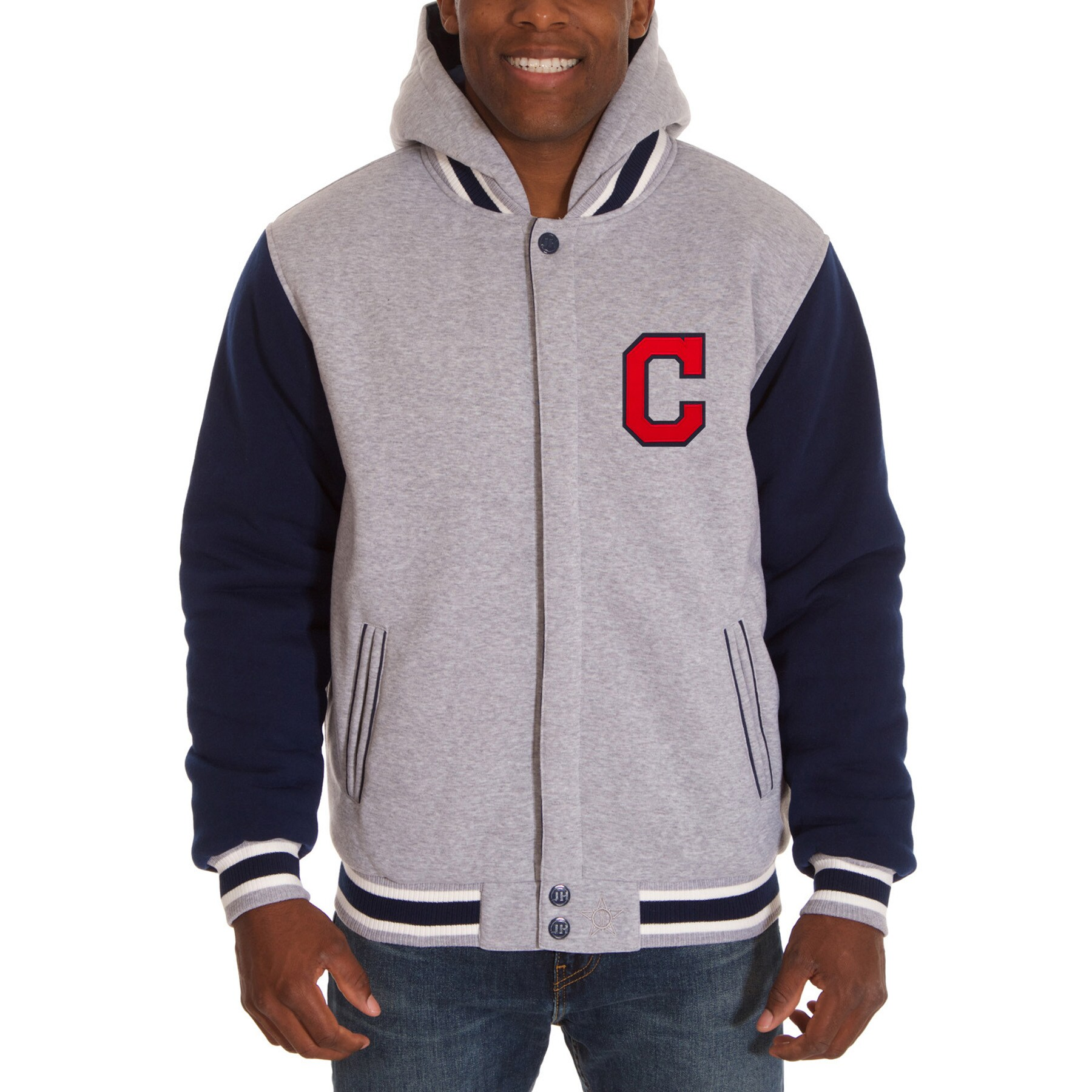 Cleveland Indians JH Design Reversible Fleece Full Snap Hoodie - Gray