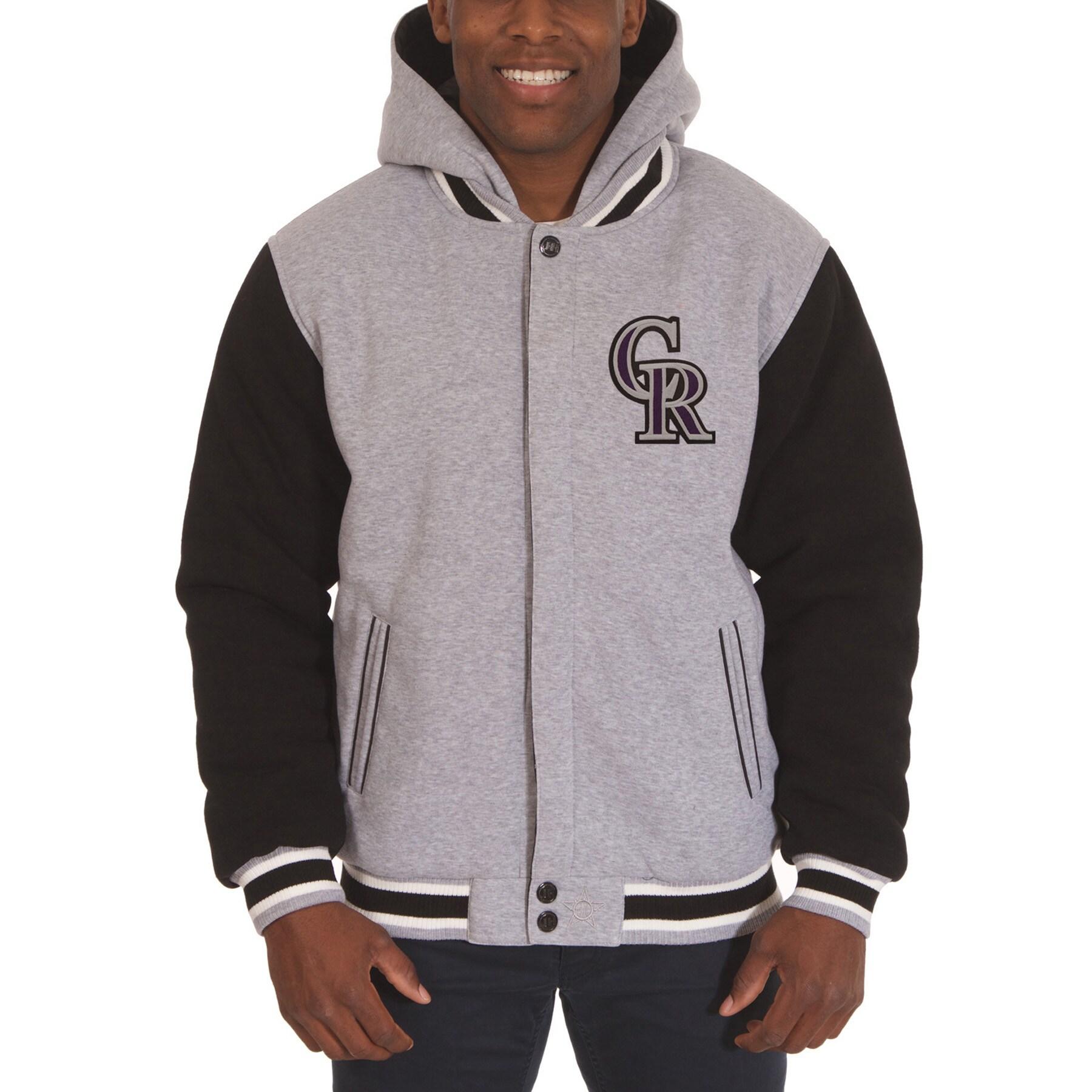 Colorado Rockies JH Design Reversible Fleece Full Snap Hoodie - Gray