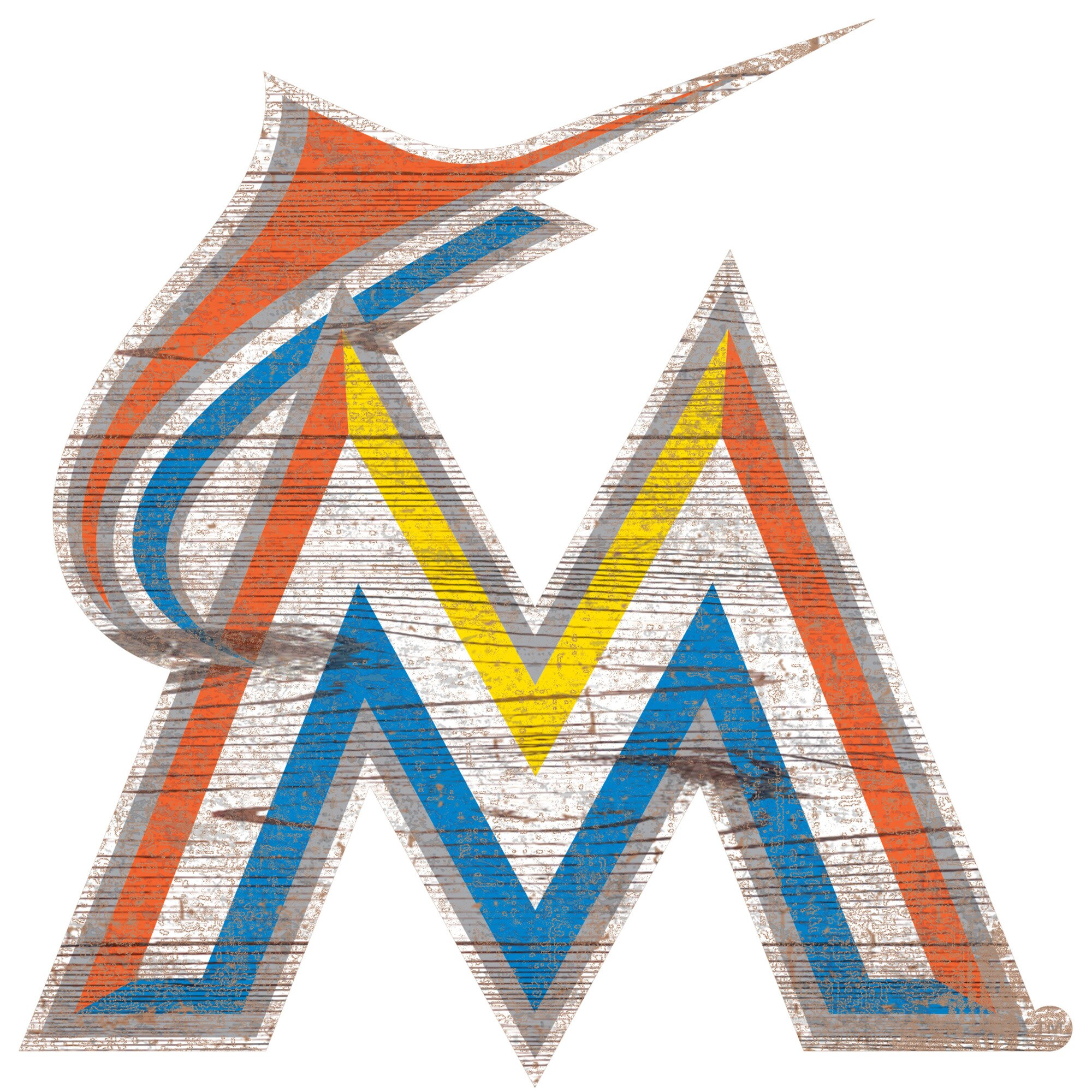Miami Marlins 24'' x 24'' Distressed Logo Cutout Sign
