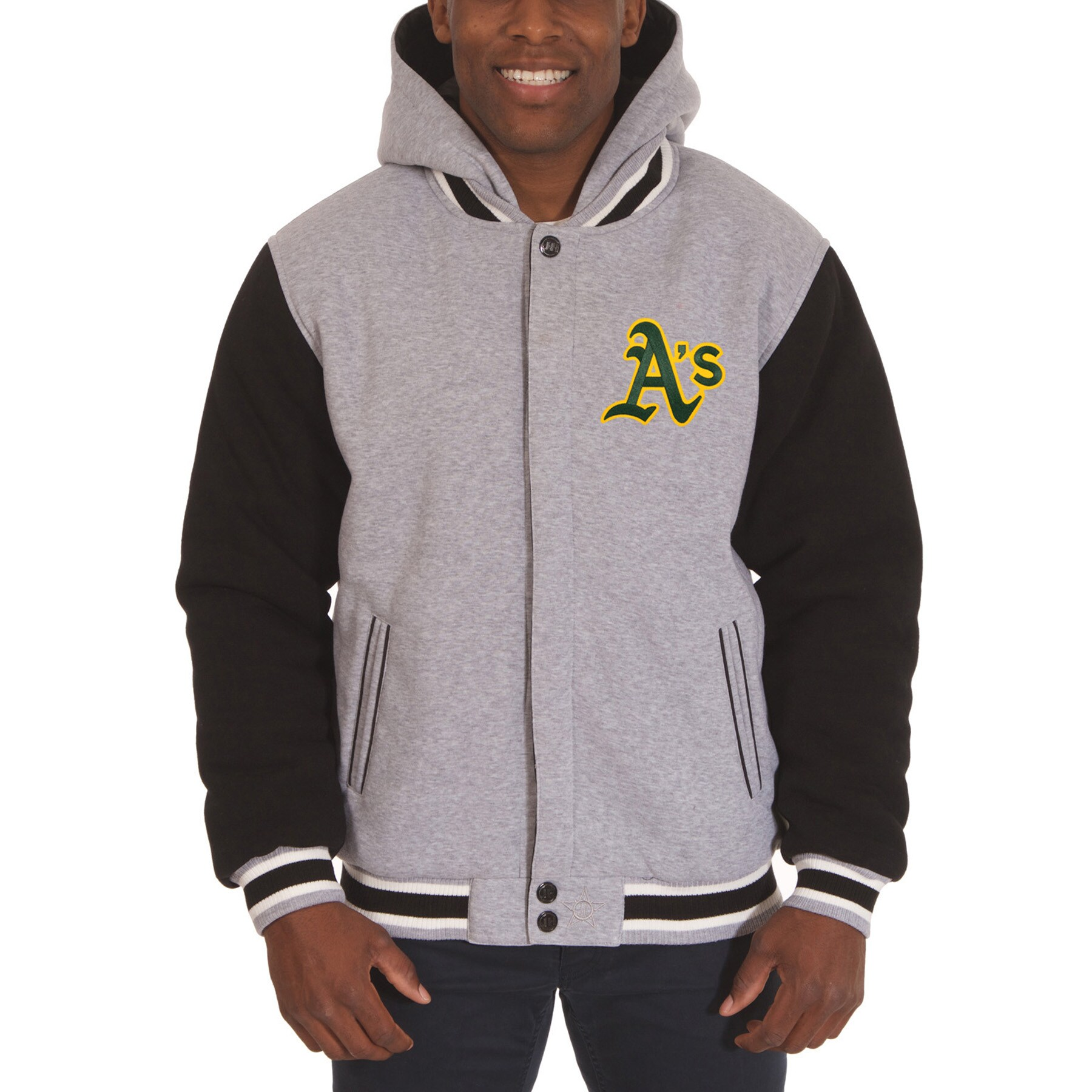 Oakland Athletics JH Design Reversible Fleece Full Snap Hoodie - Gray