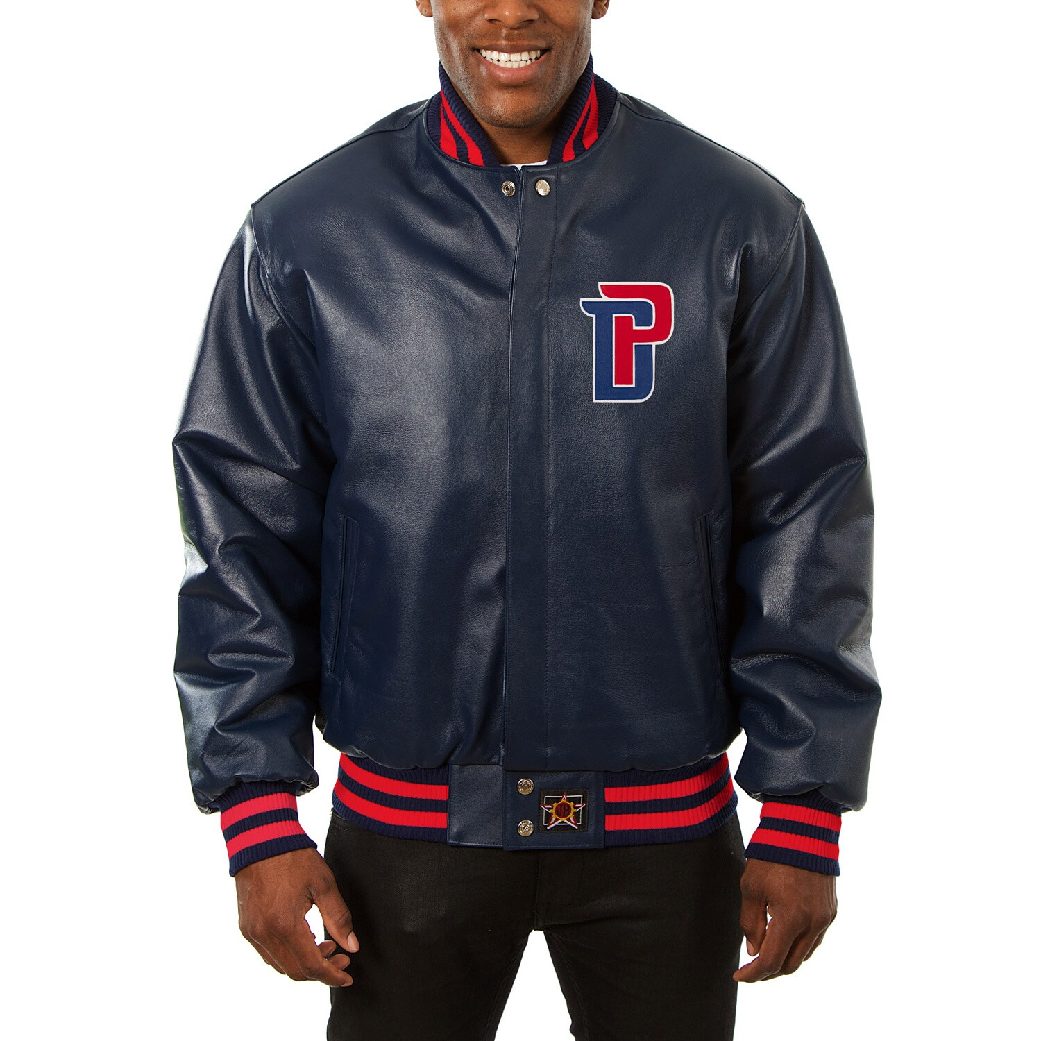Detroit Pistons JH Design Domestic Team Color Leather Jacket - Navy