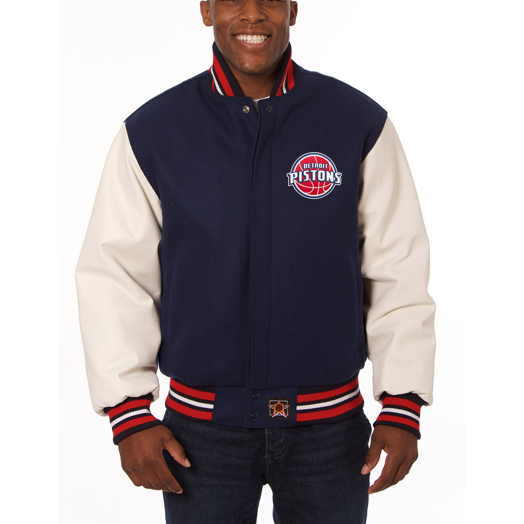 Detroit Pistons JH Design Domestic Two-Tone Wool and Leather Jacket - Navy
