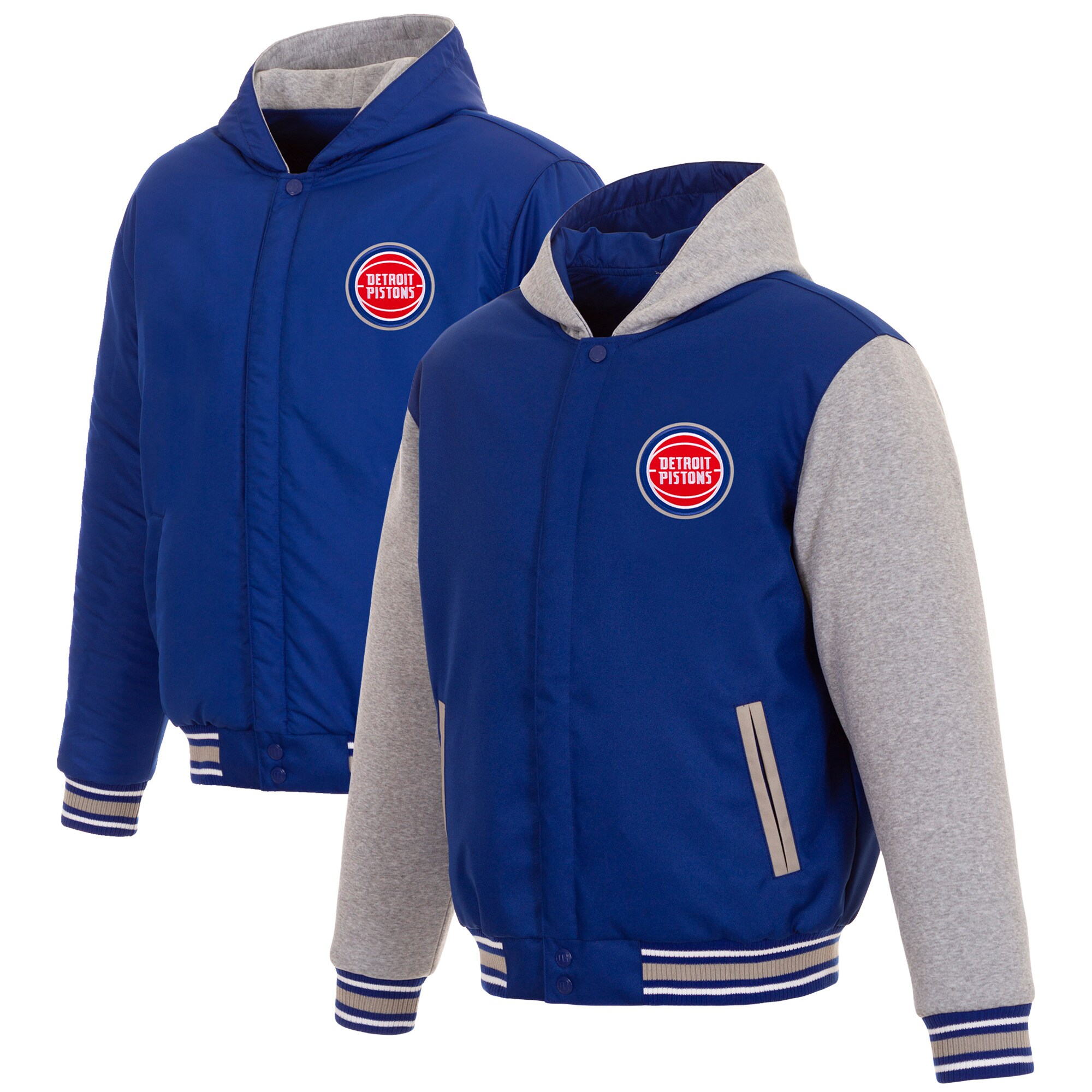 Detroit Pistons JH Design Reversible Poly-Twill Hooded Jacket with Fleece Sleeves - Royal/Gray