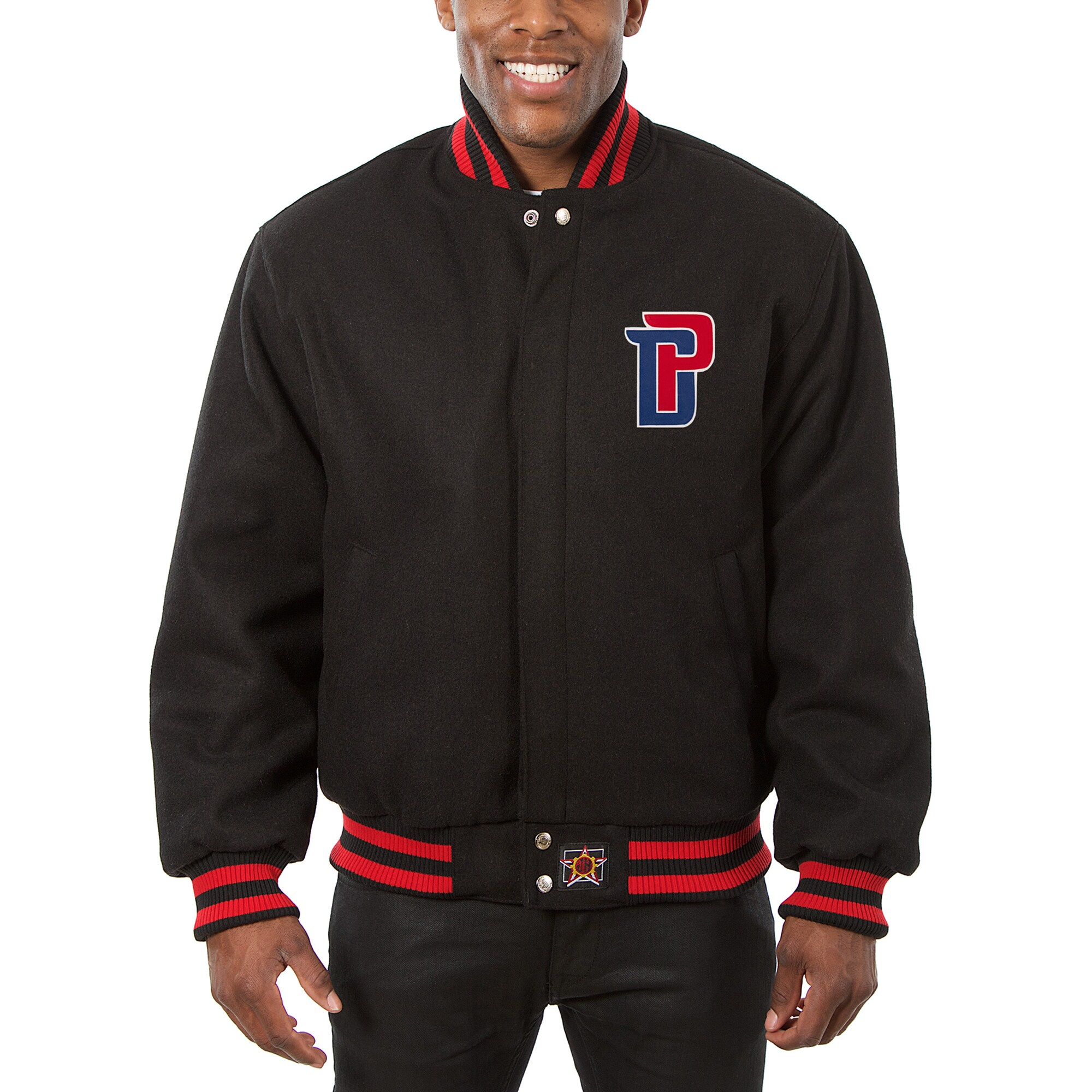Detroit Pistons JH Design Big & Tall All Wool Jacket with Leather Logo - Black