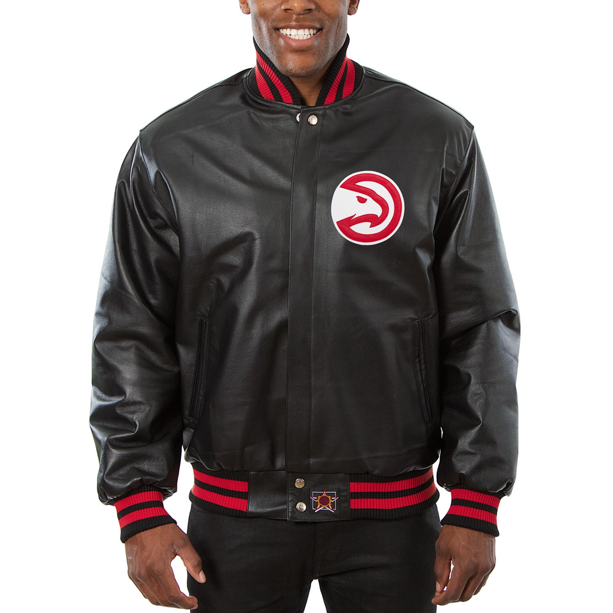 Atlanta Hawks JH Design Big & Tall All-Leather Logo Full-Snap Jacket - Black