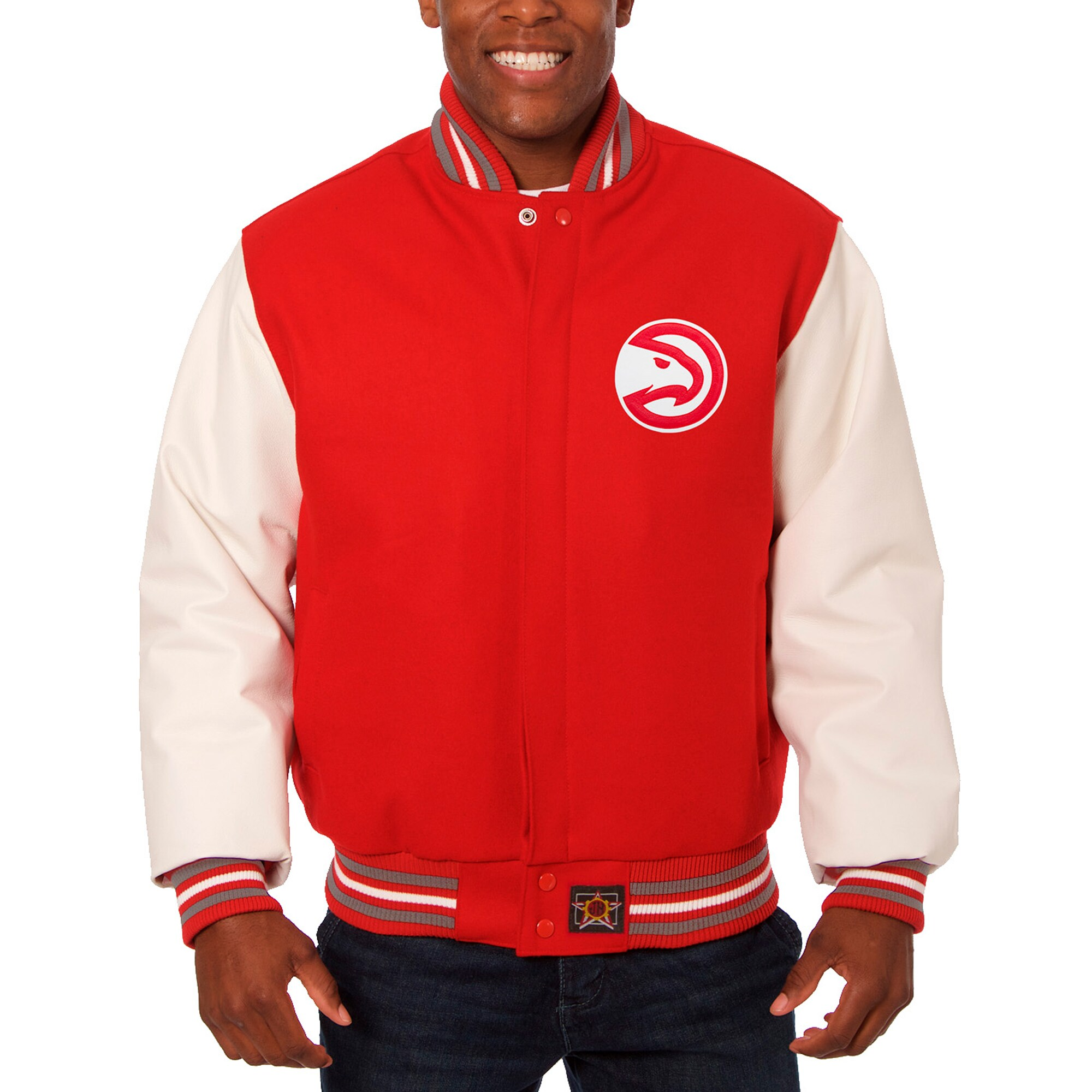 Atlanta Hawks JH Design Big & Tall Wool & Leather Full-Snap Jacket - Red/White