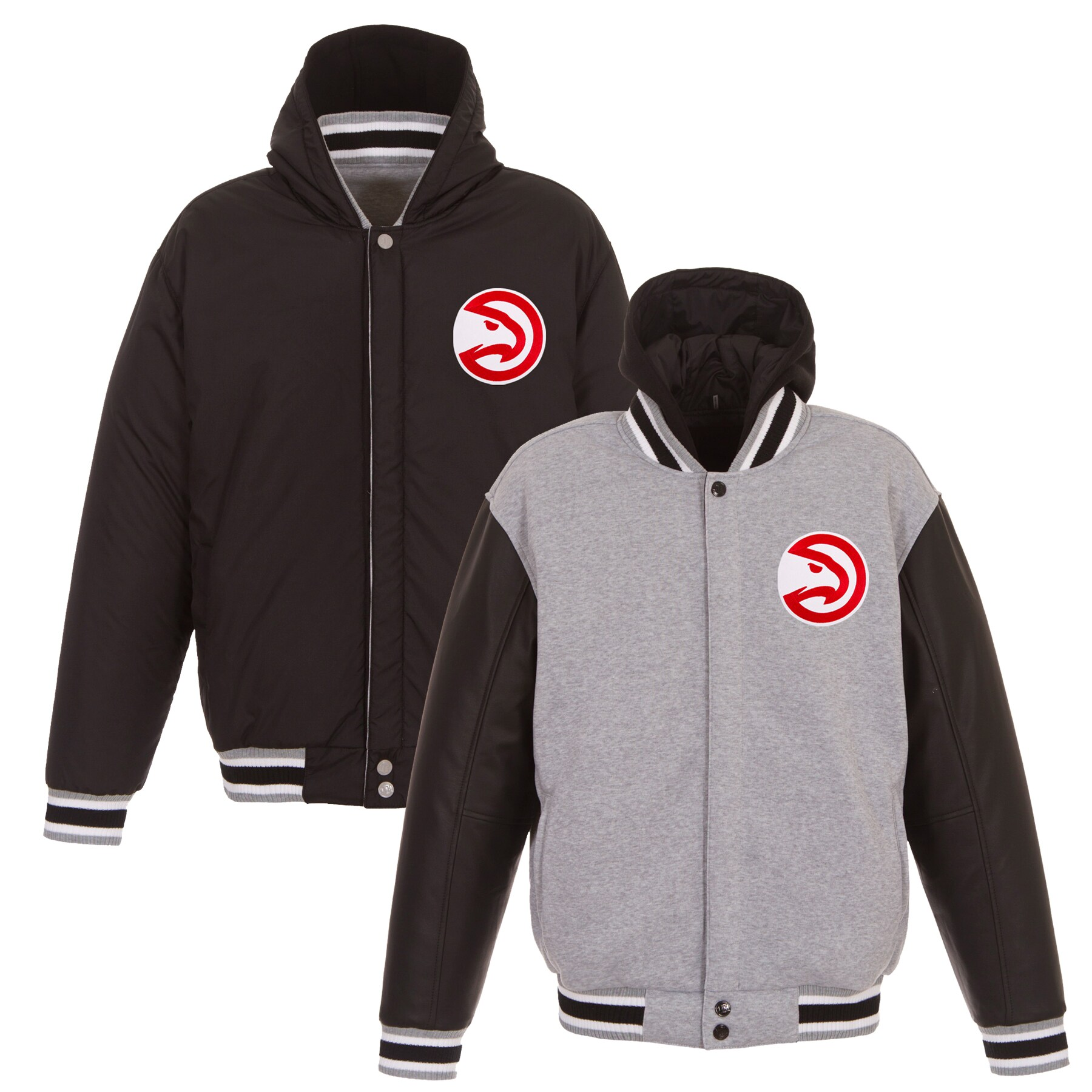 Atlanta Hawks JH Design Embroidered Logo Reversible Hooded Fleece Full-Snap Jacket - Gray/Black
