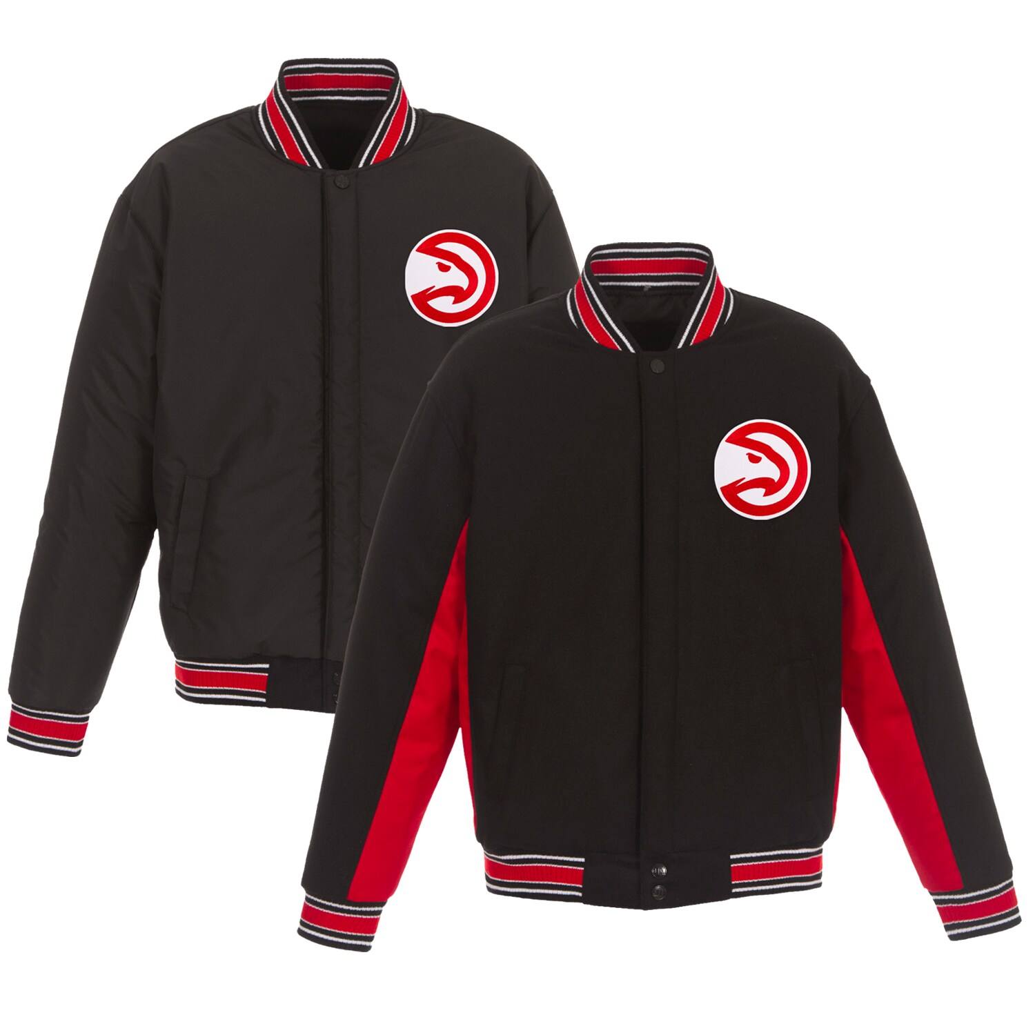 Atlanta Hawks JH Design Reversible Wool & Poly-Twill Full-Snap Jacket - Black/Gray