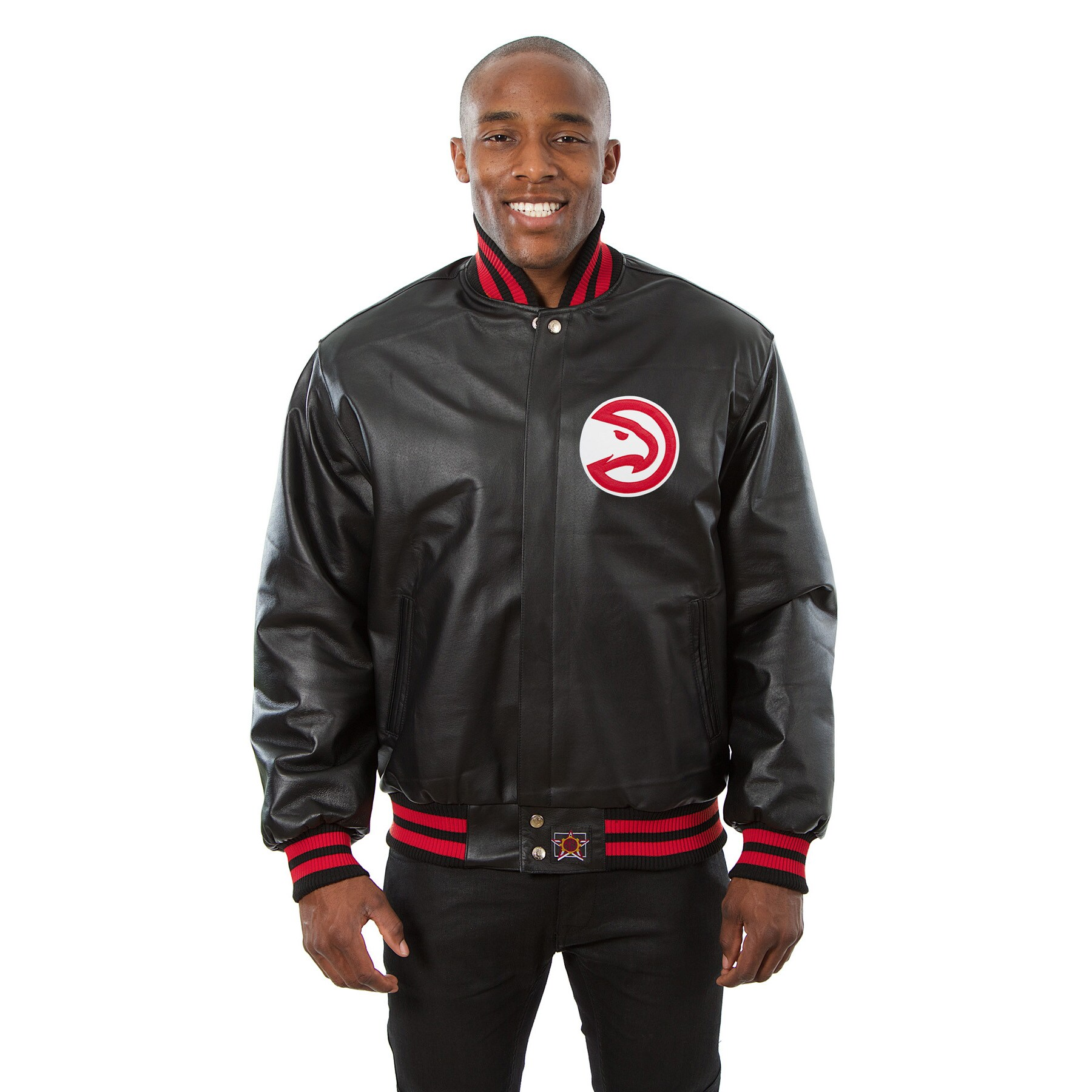Atlanta Hawks JH Design Domestic Team Color Leather Jacket - Black