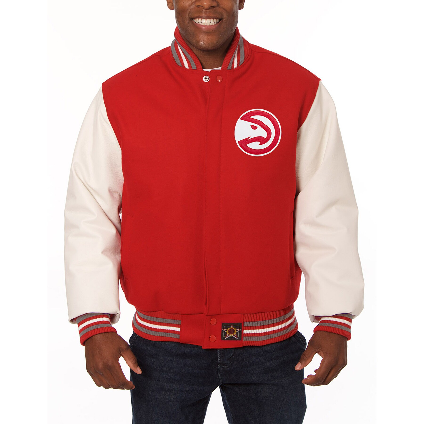 Atlanta Hawks JH Design Domestic Two-Tone Wool and Leather Jacket - Red