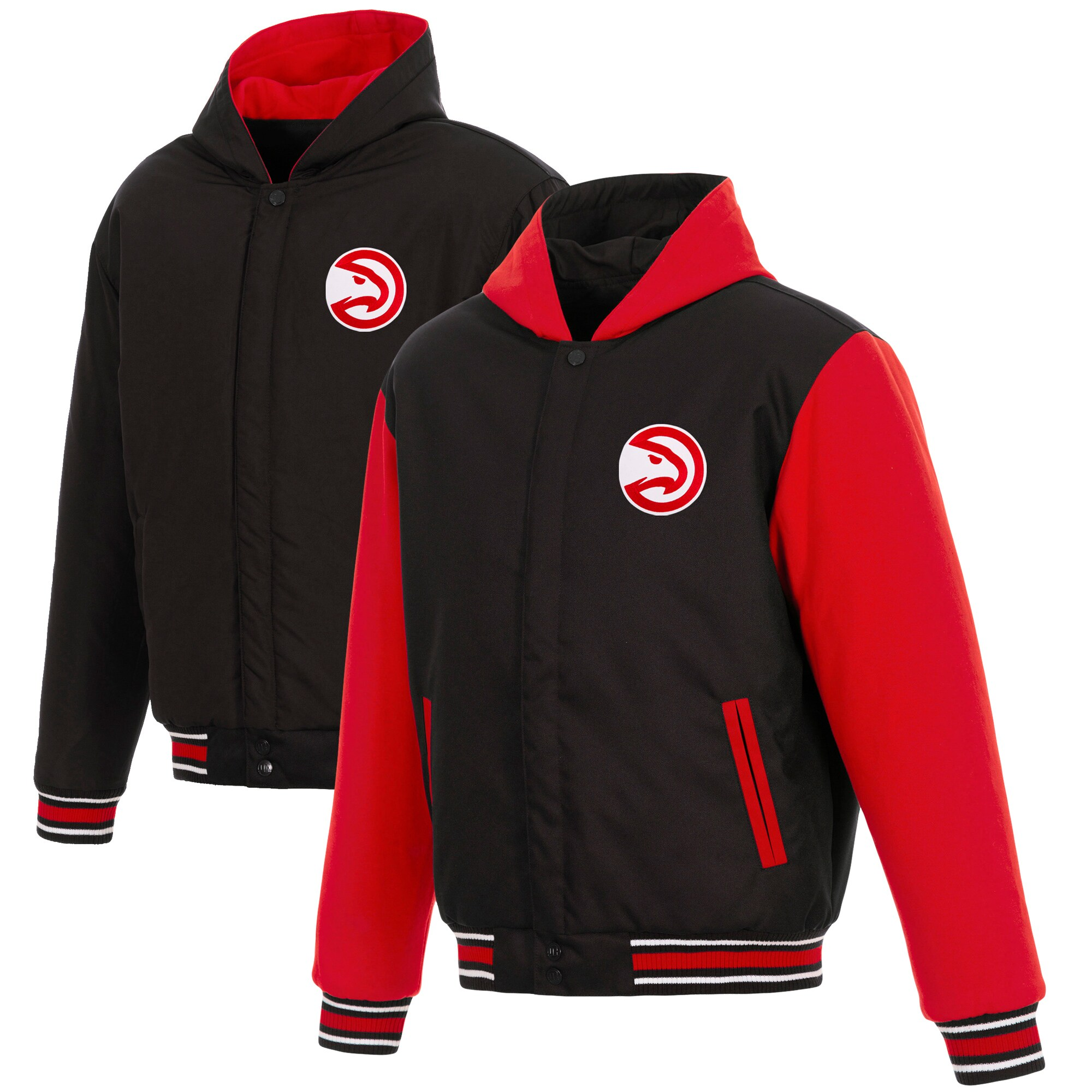 Atlanta Hawks JH Design Reversible Poly-Twill Hooded Jacket with Fleece Sleeves - Black/Red