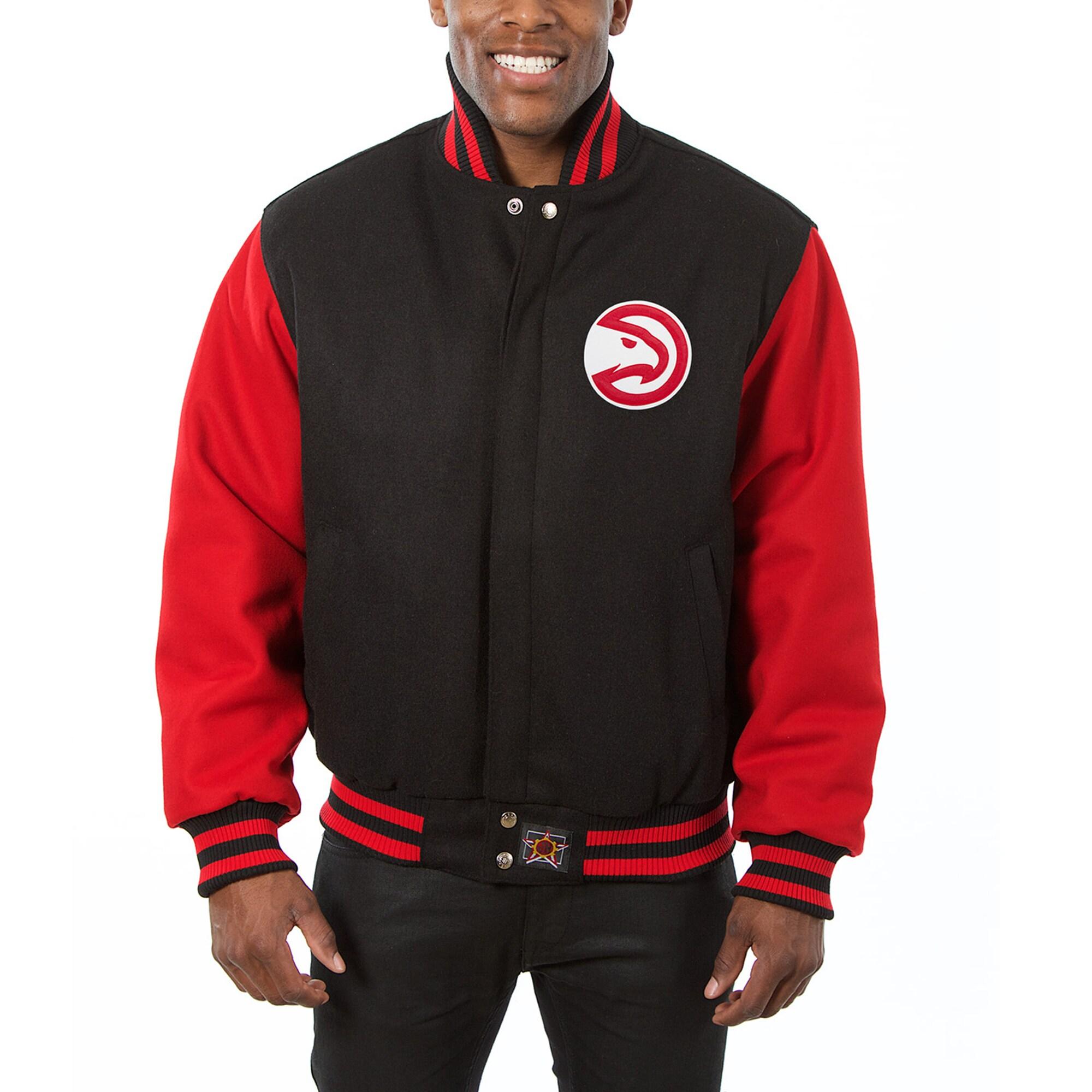 Atlanta Hawks JH Design Big & Tall All Wool Jacket with Leather Logo - Black/Red