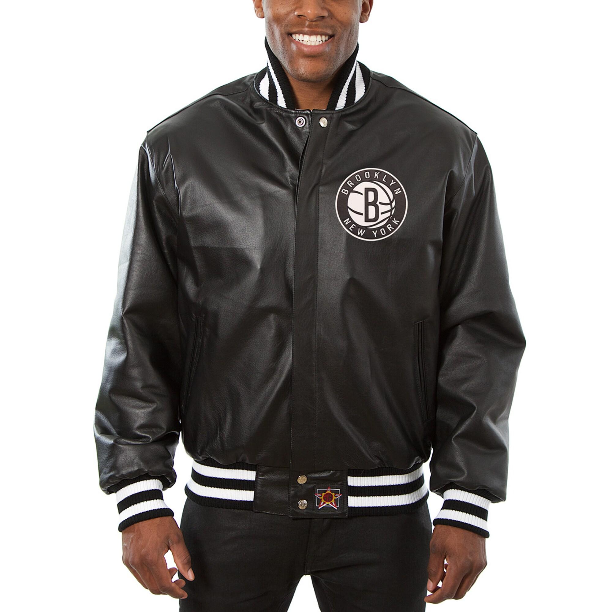 Brooklyn Nets JH Design Big & Tall All-Leather Logo Full-Snap Jacket - Black