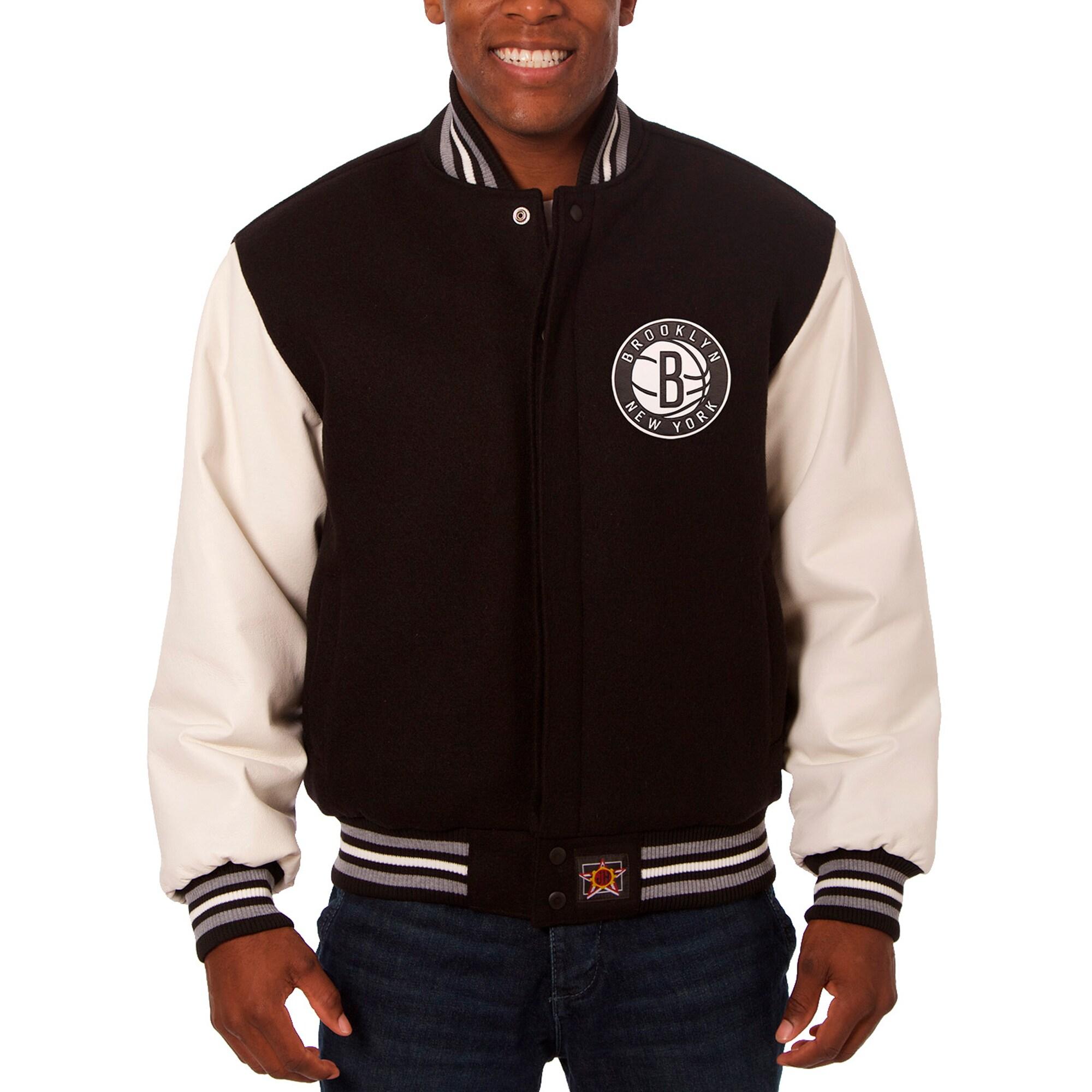 Brooklyn Nets JH Design Big & Tall Wool & Leather Full-Snap Jacket - Black/White