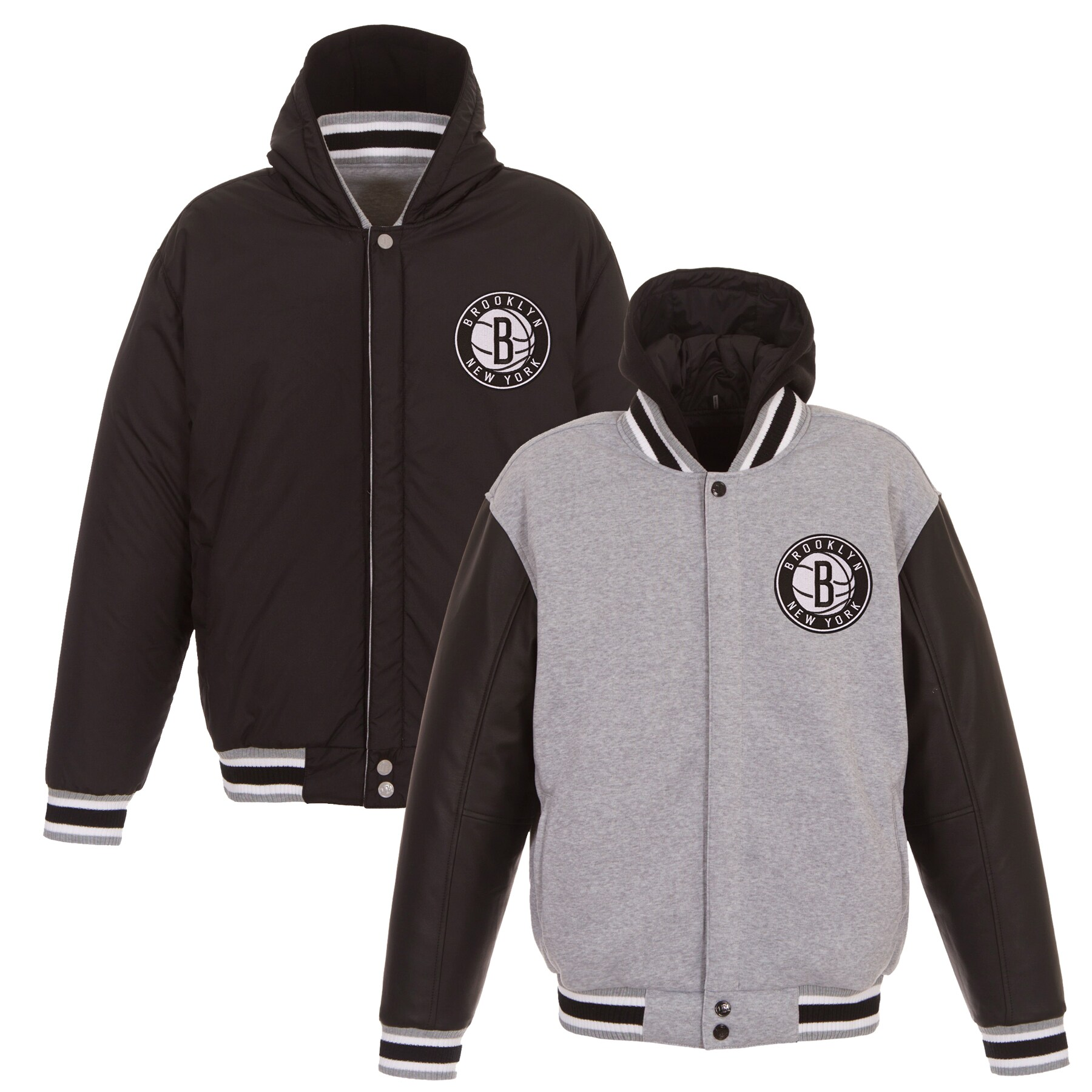 Brooklyn Nets JH Design Embroidered Logo Reversible Hooded Fleece Full-Snap Jacket - Gray/Black