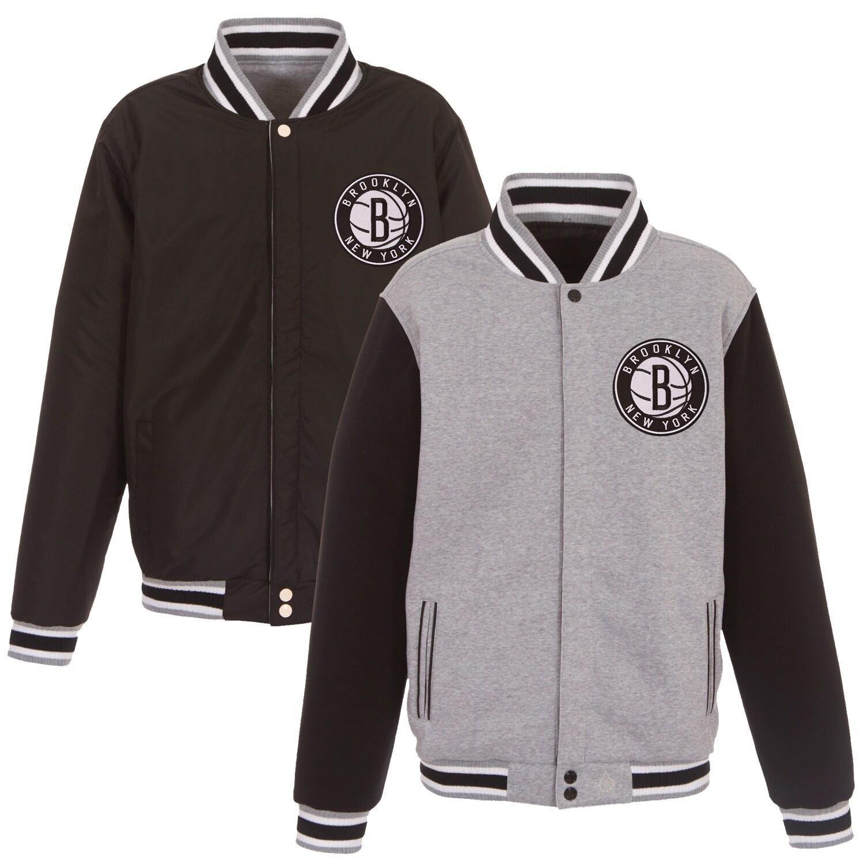 Brooklyn Nets JH Design Embroidered Logo Reversible Fleece Full-Snap Jacket - Gray/Black