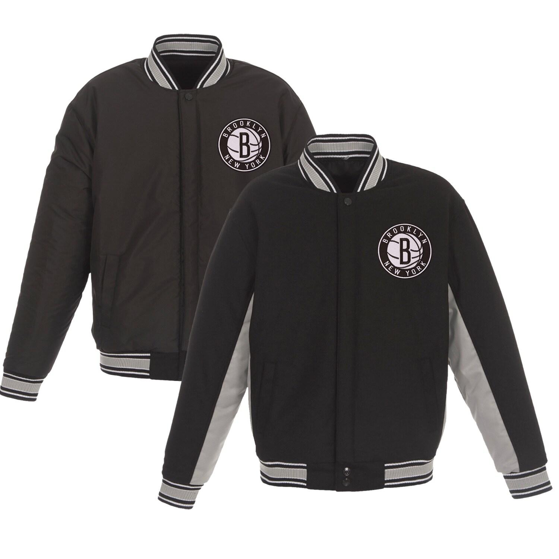 Brooklyn Nets JH Design Reversible Wool & Poly-Twill Full-Snap Jacket - Black/Gray