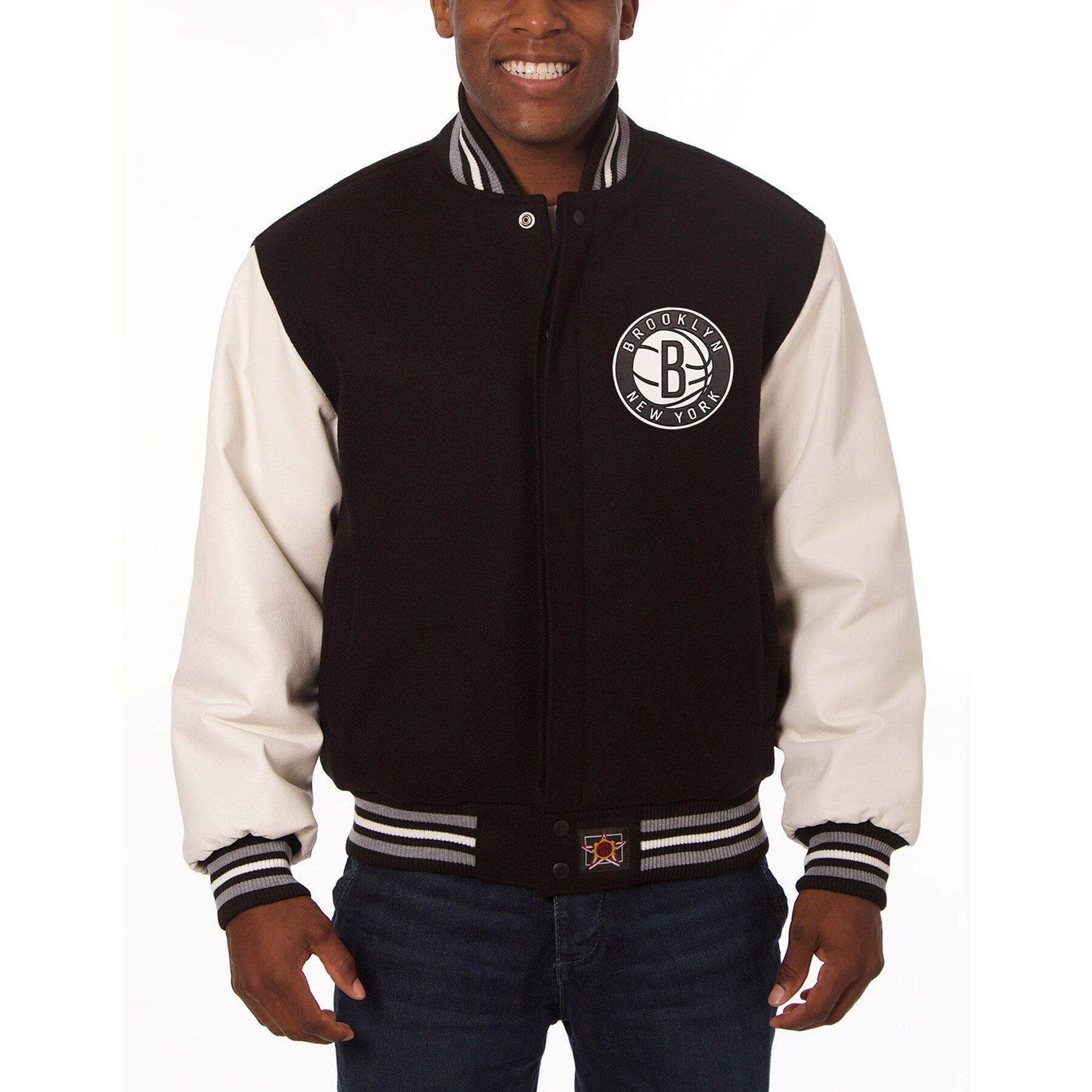 Brooklyn Nets JH Design Domestic Two-Tone Wool and Leather Jacket - Black