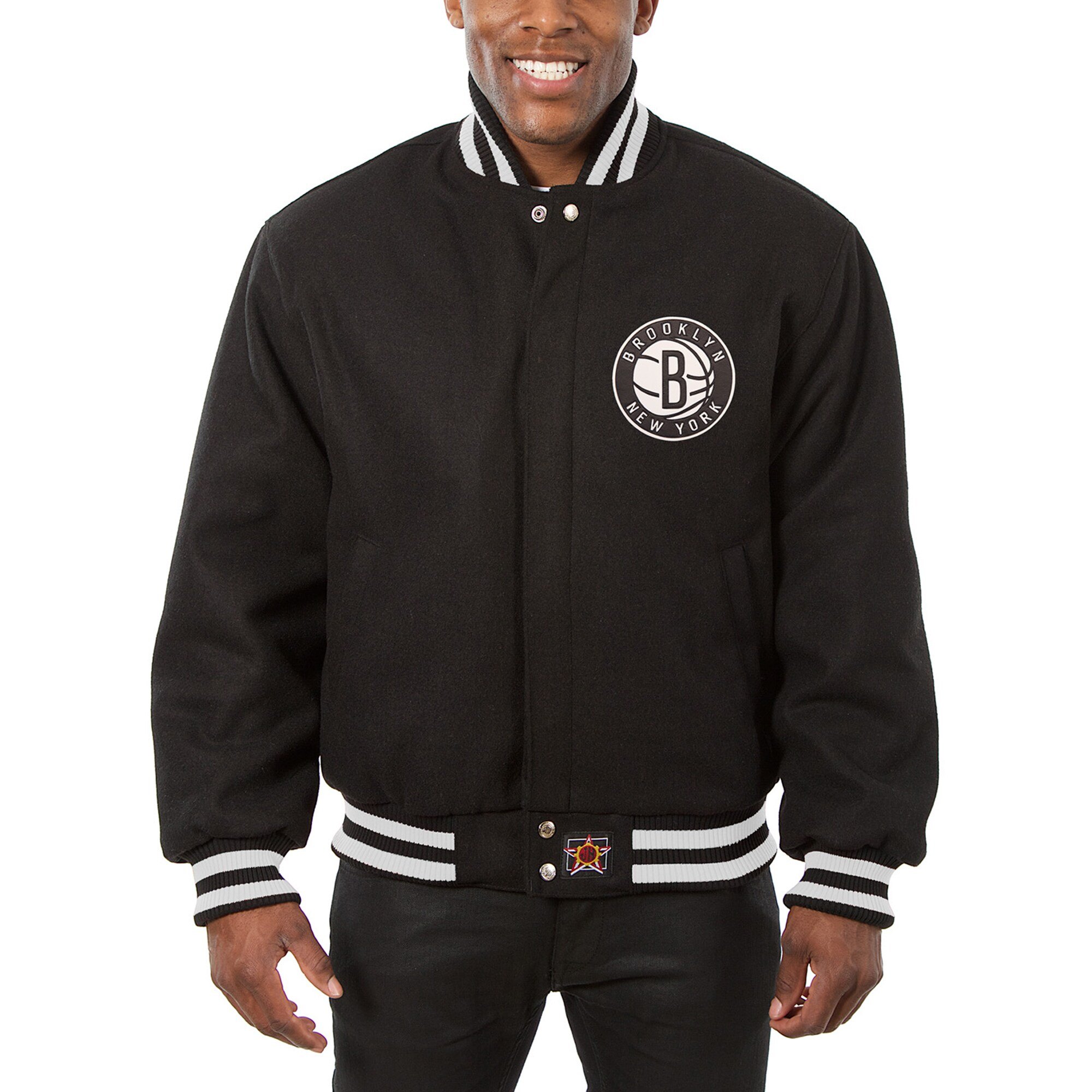 Brooklyn Nets JH Design Big & Tall All Wool Jacket with Leather Logo - Black