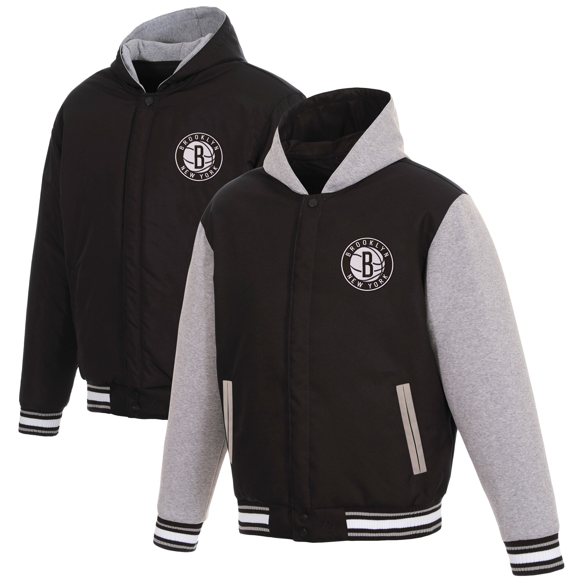 Brooklyn Nets JH Design Reversible Poly-Twill Hooded Jacket with Fleece Sleeves - Black/Gray