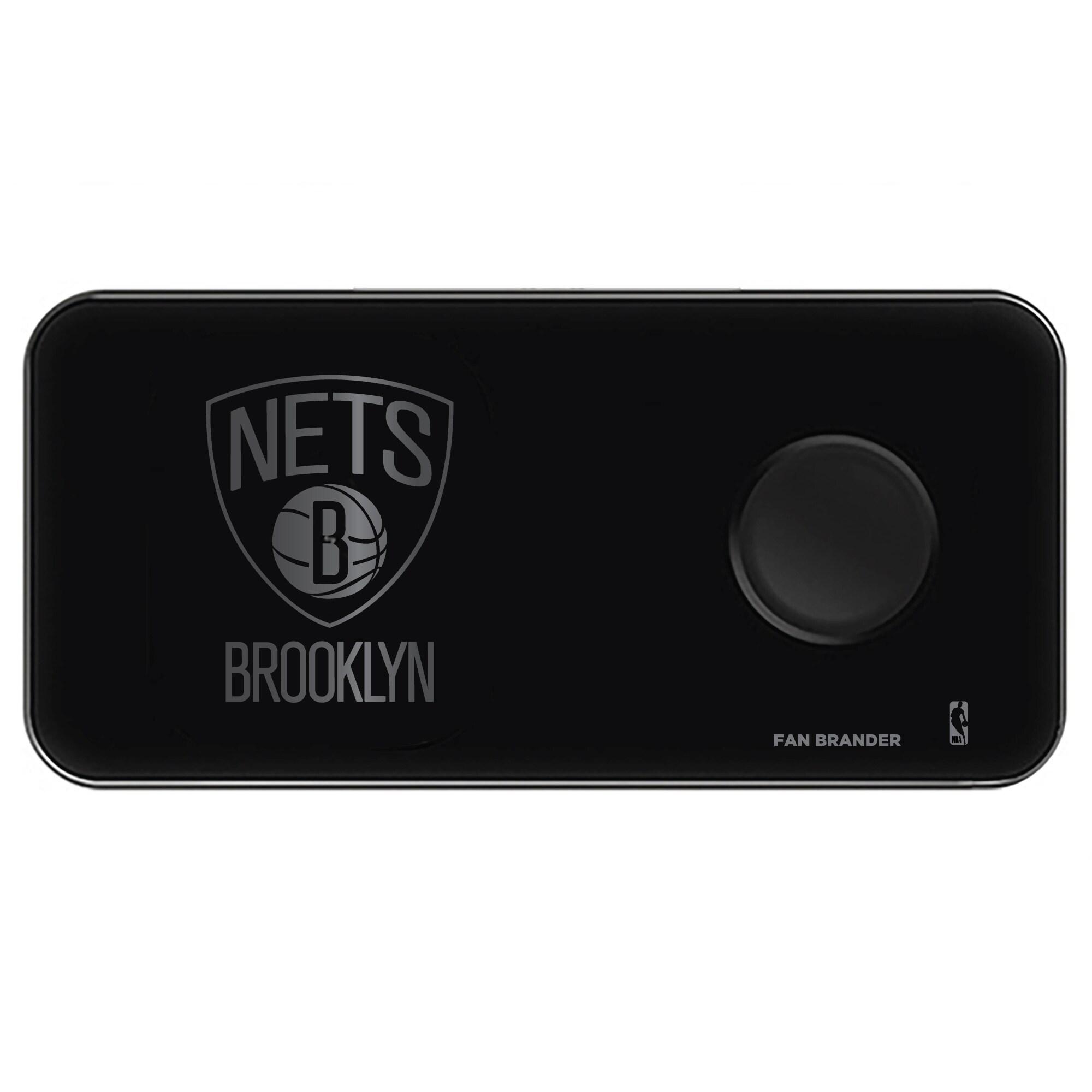 Brooklyn Nets 3-in-1 Glass Wireless Charge Pad - Black