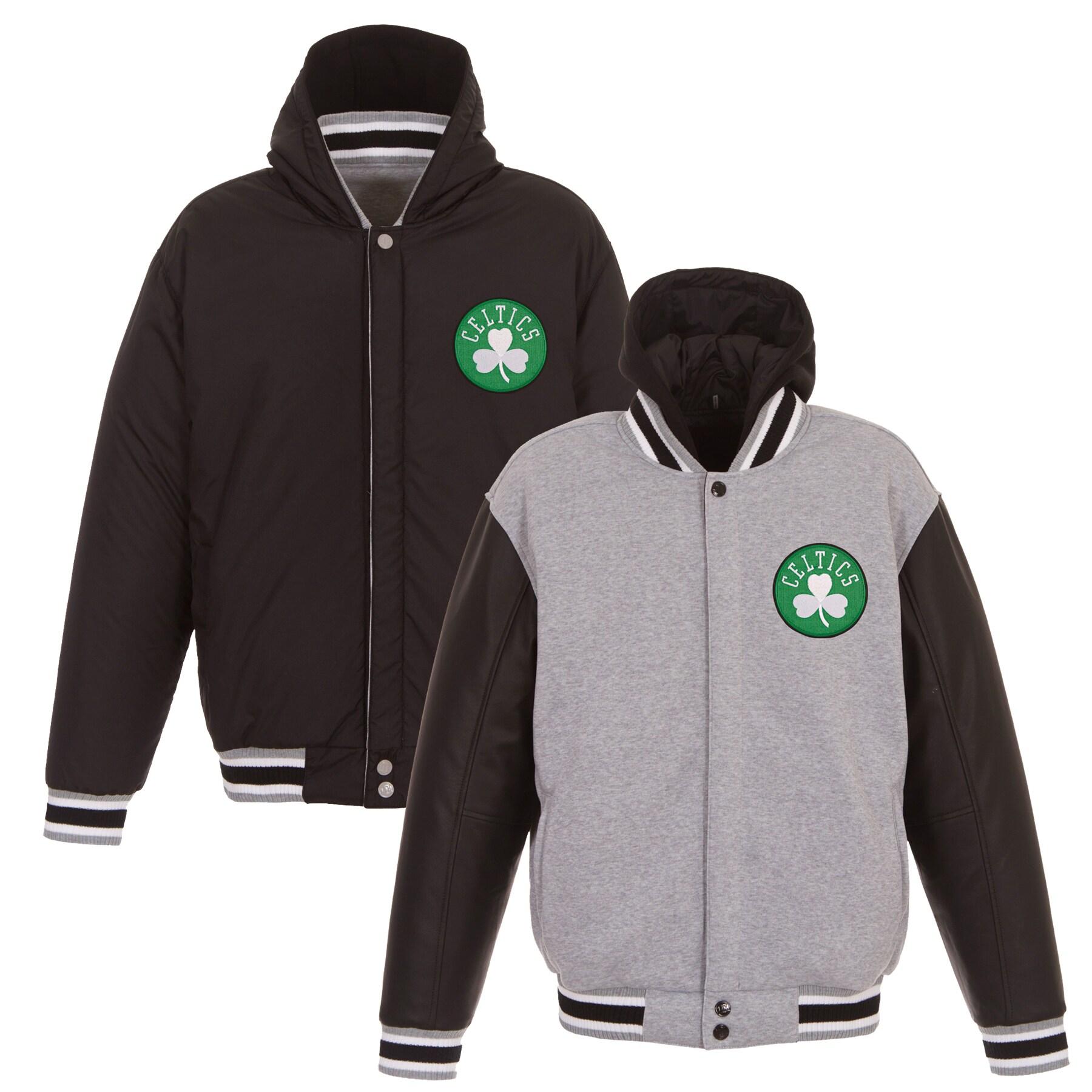Boston Celtics JH Design Embroidered Logo Reversible Hooded Fleece Full-Snap Jacket - Gray/Black
