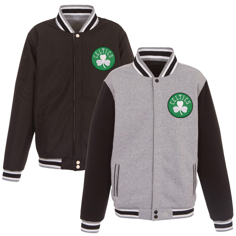 Boston Celtics JH Design Embroidered Logo Reversible Fleece Full-Snap Jacket - Gray/Black