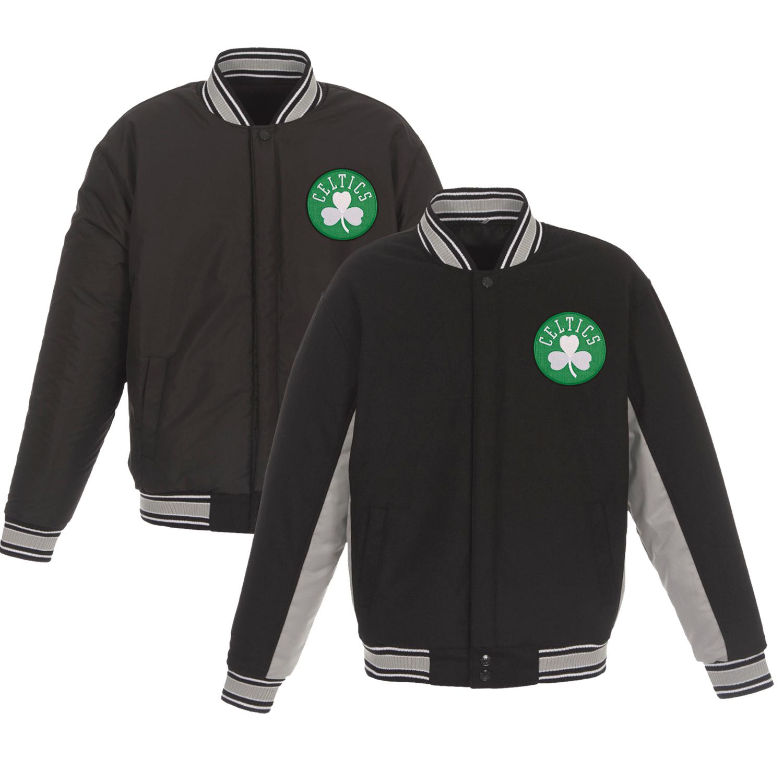 Boston Celtics JH Design Reversible Wool & Poly-Twill Full-Snap Jacket - Black/Gray